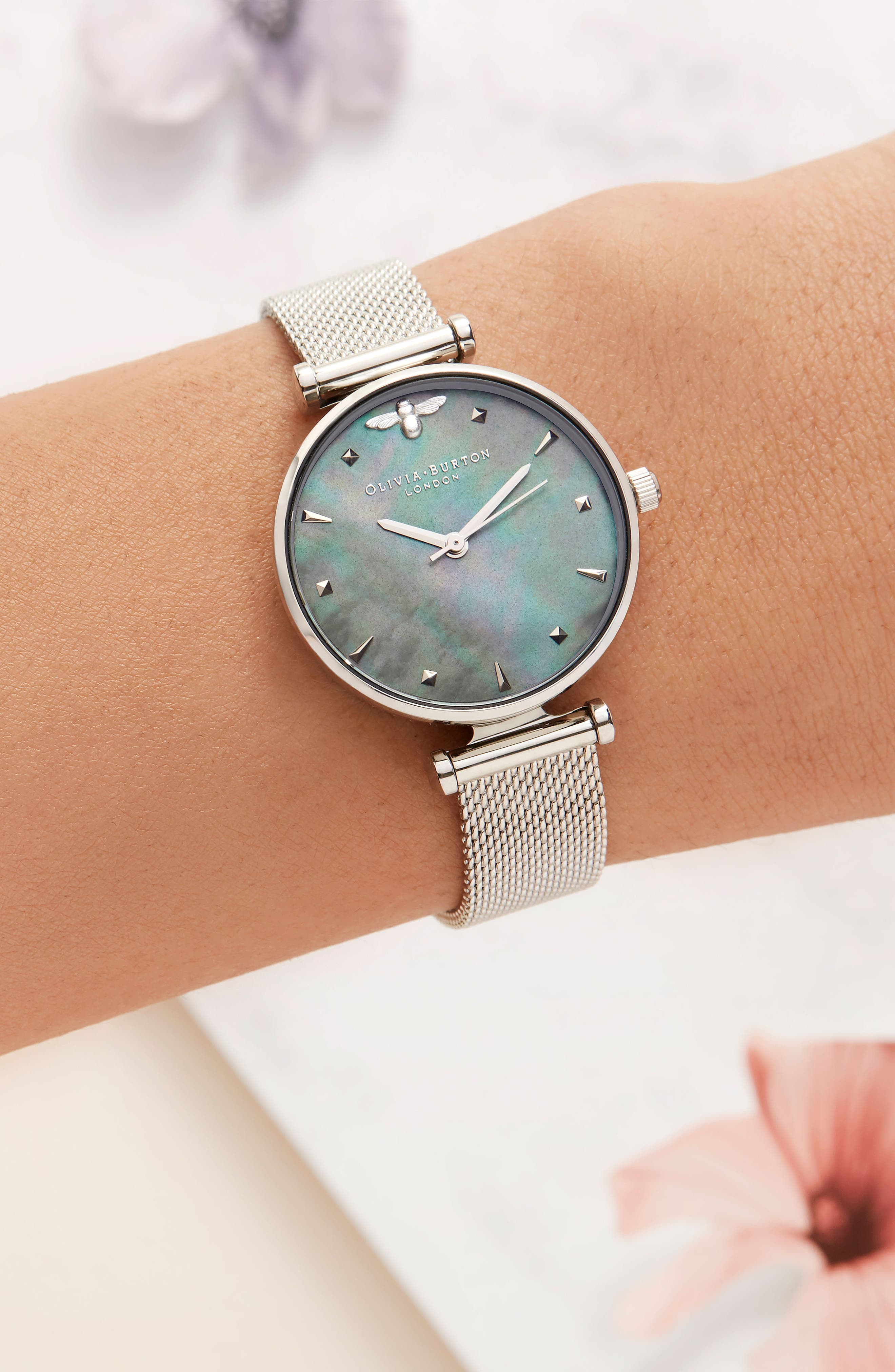 Queen Bee Mesh Strap Watch, 30mm,                             Alternate thumbnail 2, color,                             SILVER/ BLUE MOP/ SILVER