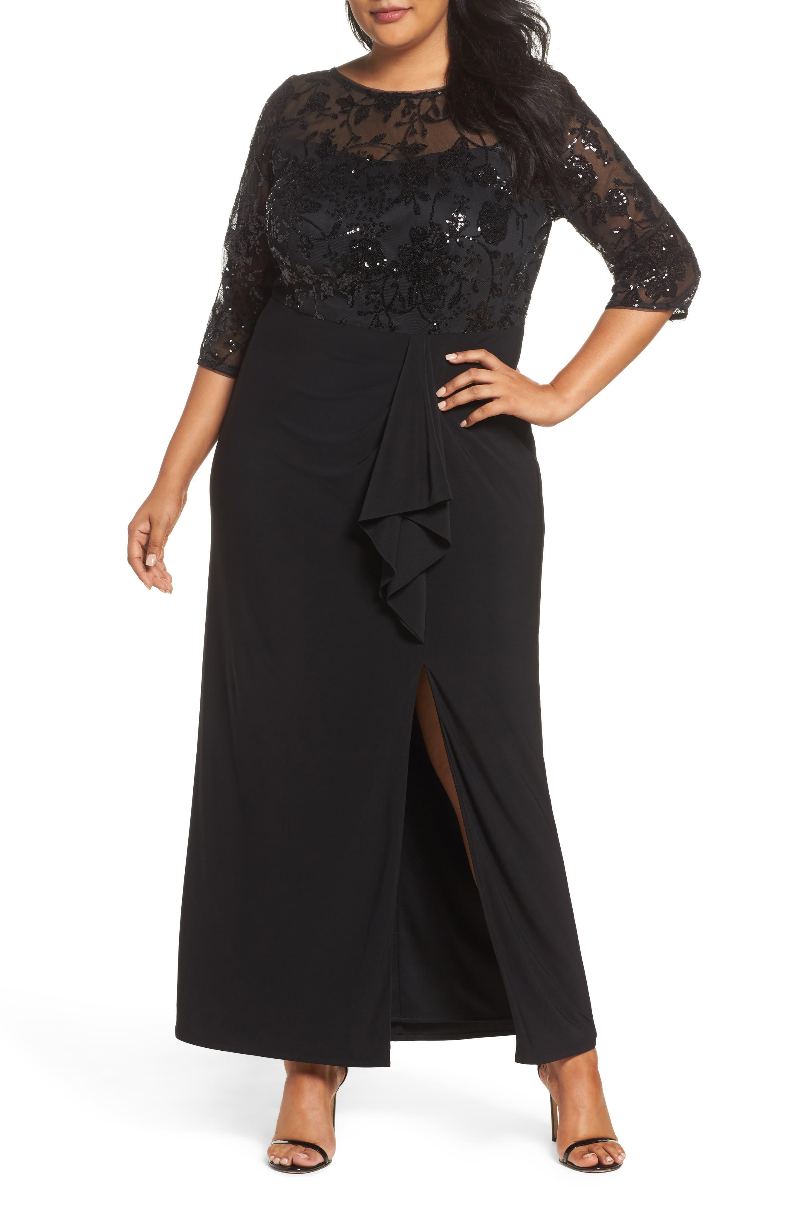 Sequin Mesh & Jersey Column Gown,                             Main thumbnail 1, color,                             001
