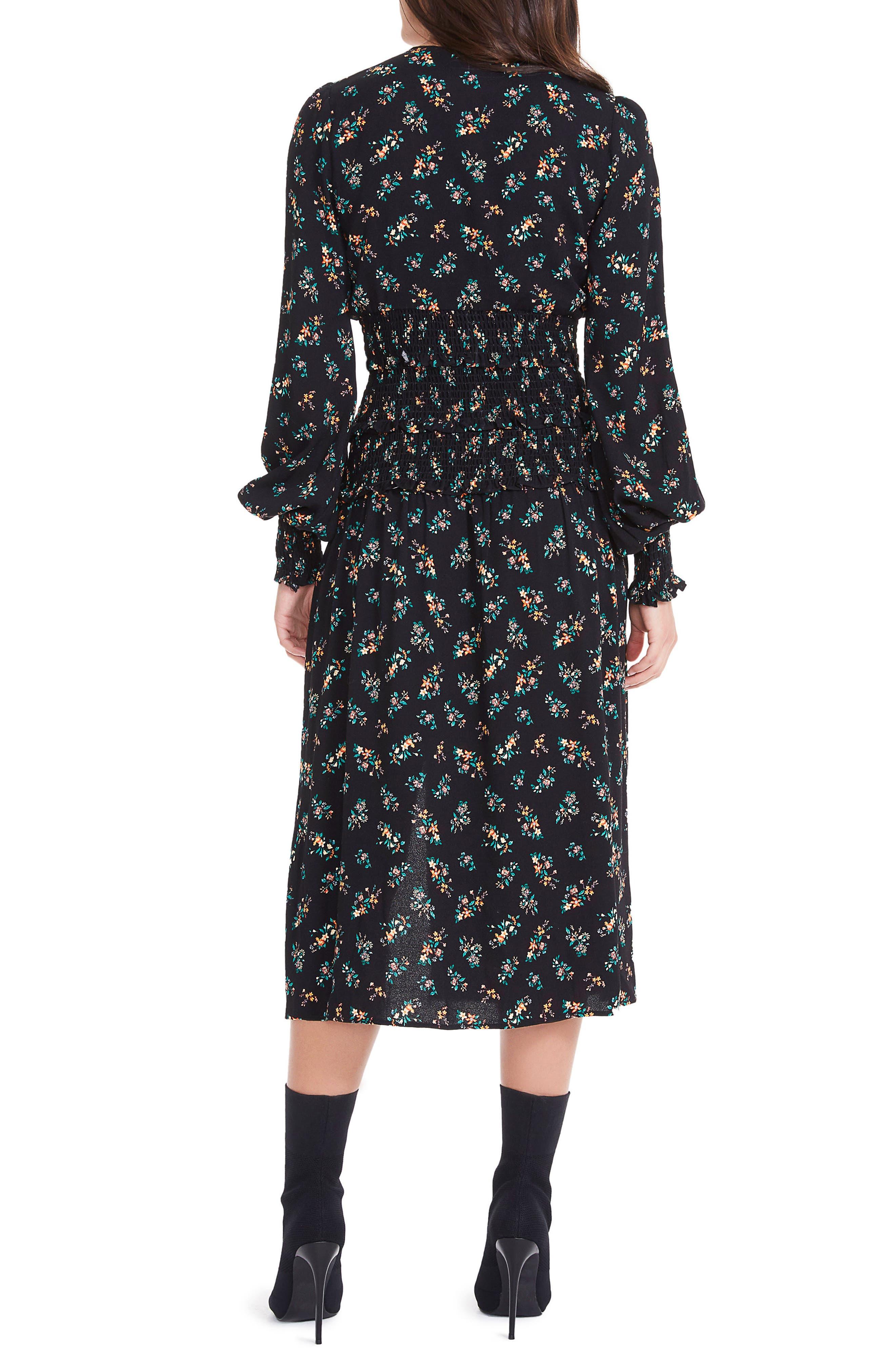 Hazel Smocked Midi Dress,                             Alternate thumbnail 2, color,                             001
