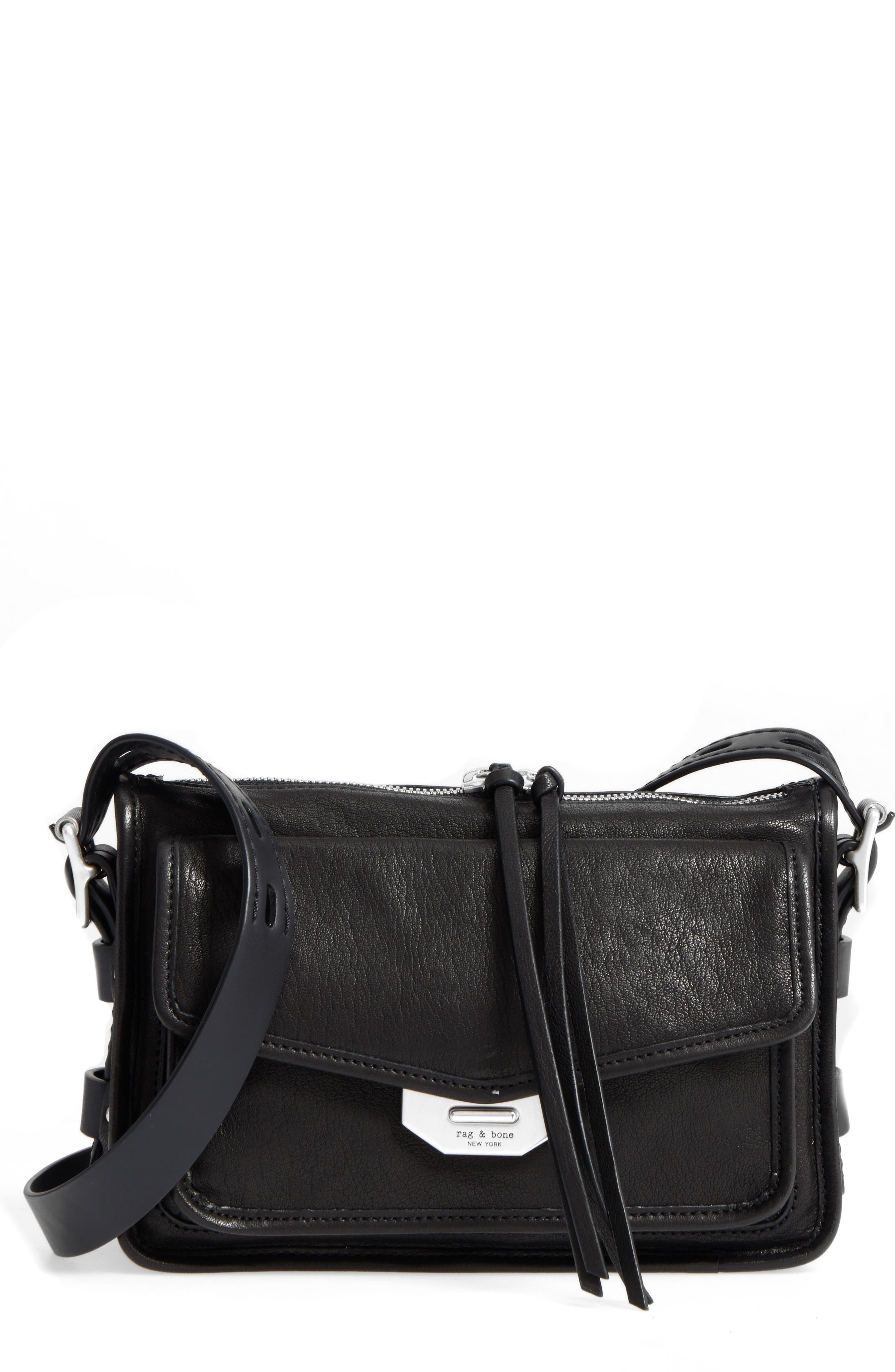 Small Field Leather Messenger Bag,                             Main thumbnail 1, color,                             BLACK