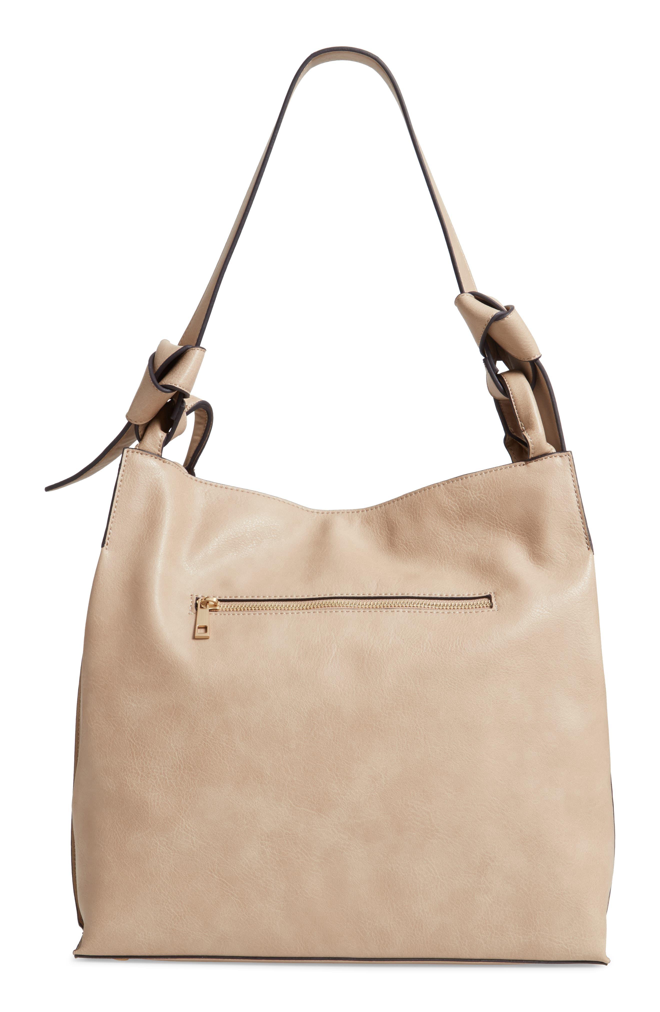 Josah Faux Leather Shoulder Bag,                             Alternate thumbnail 4, color,                             SAFARI