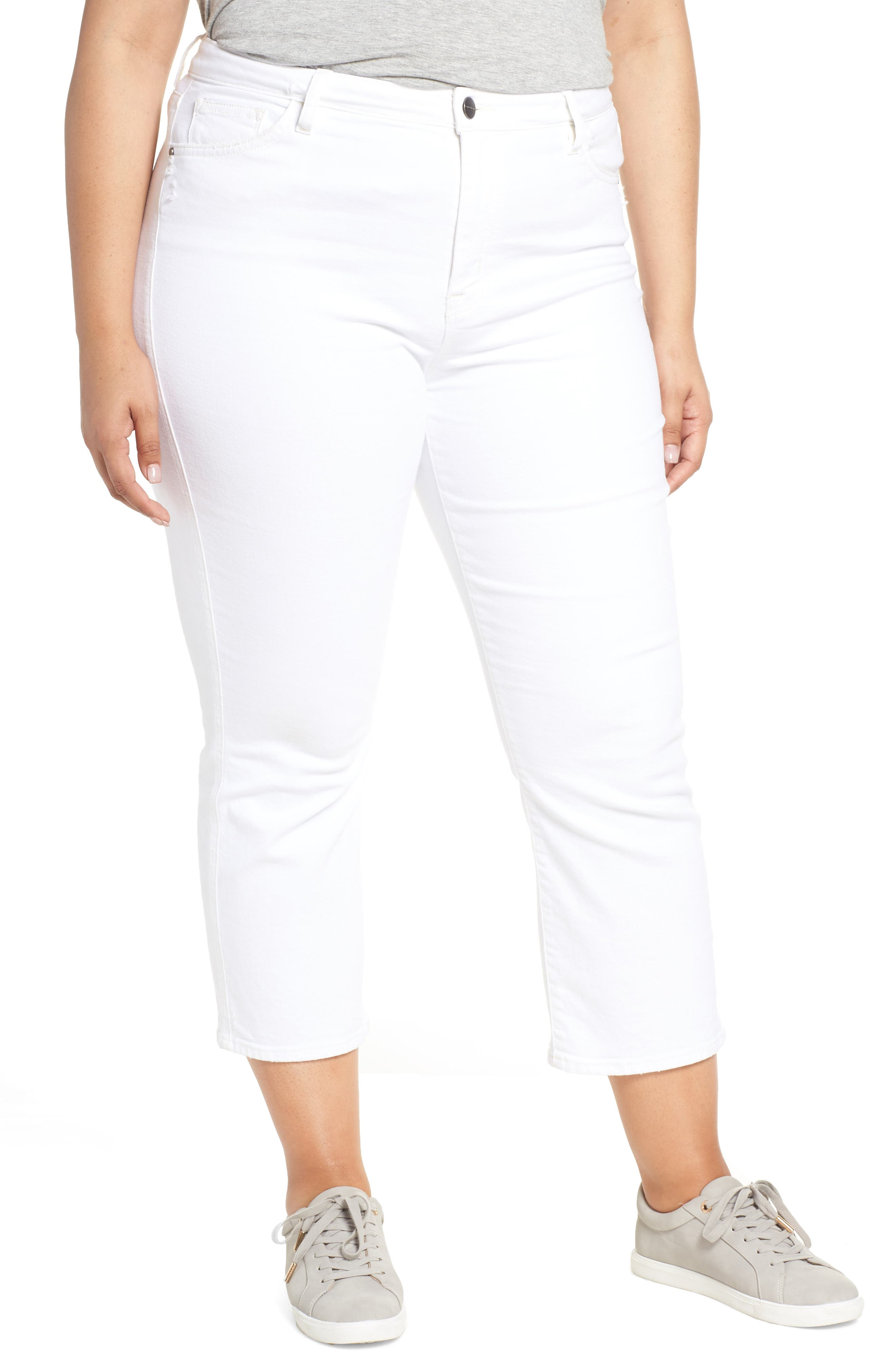 Modern High Rise Straight Leg Crop Jeans,                             Main thumbnail 1, color,                             ANGLNO WHT