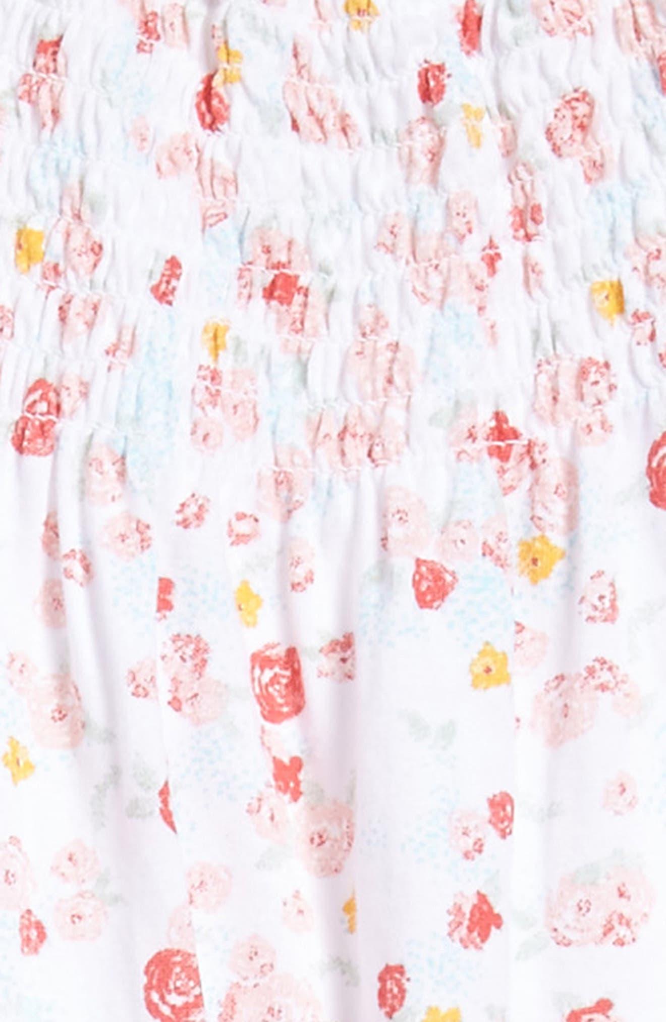 Ditsy Floral Print Bubble Dress,                             Alternate thumbnail 3, color,                             100