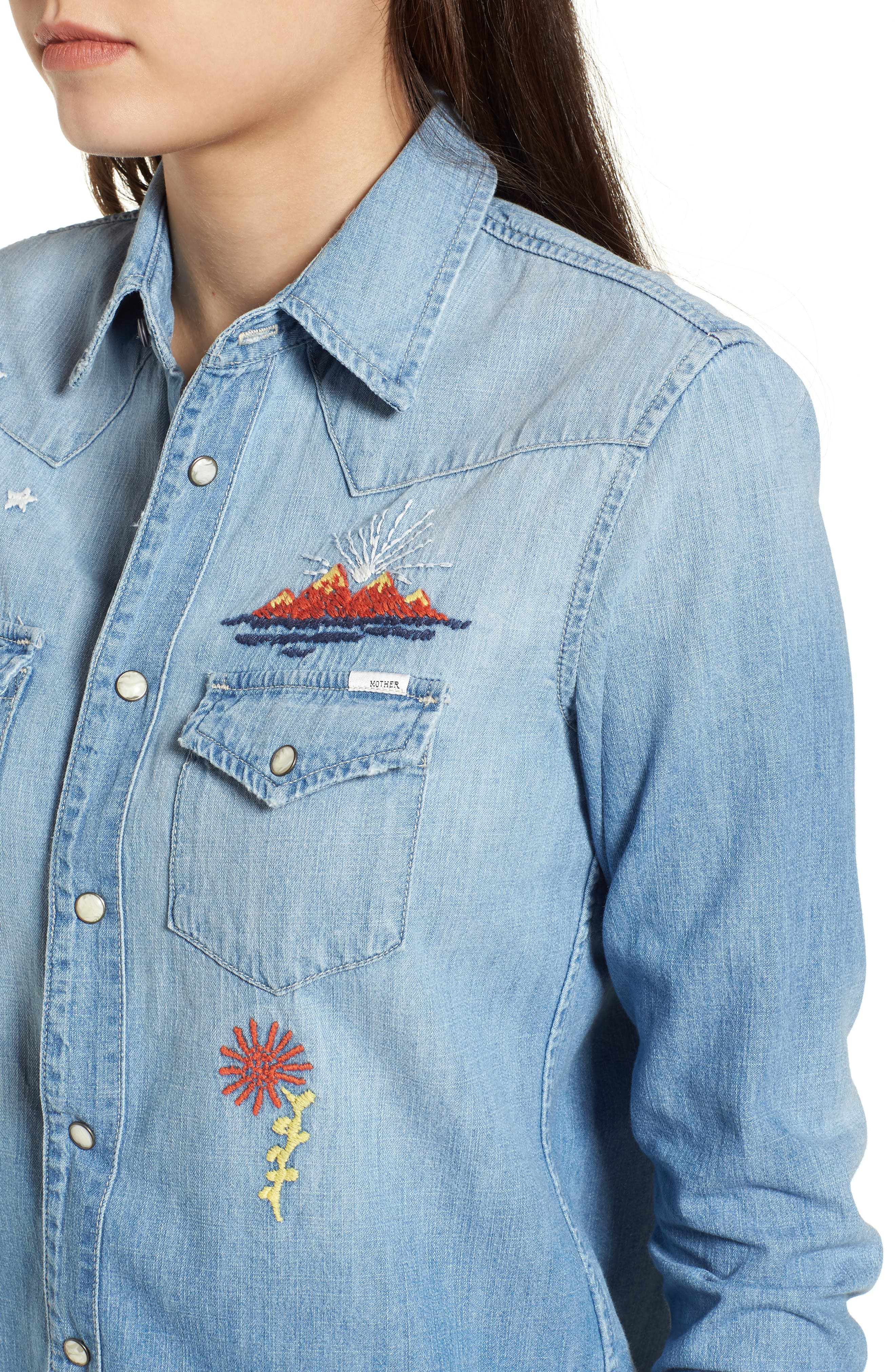 All My Ex's Embroidered Denim Shirt,                             Alternate thumbnail 4, color,                             400
