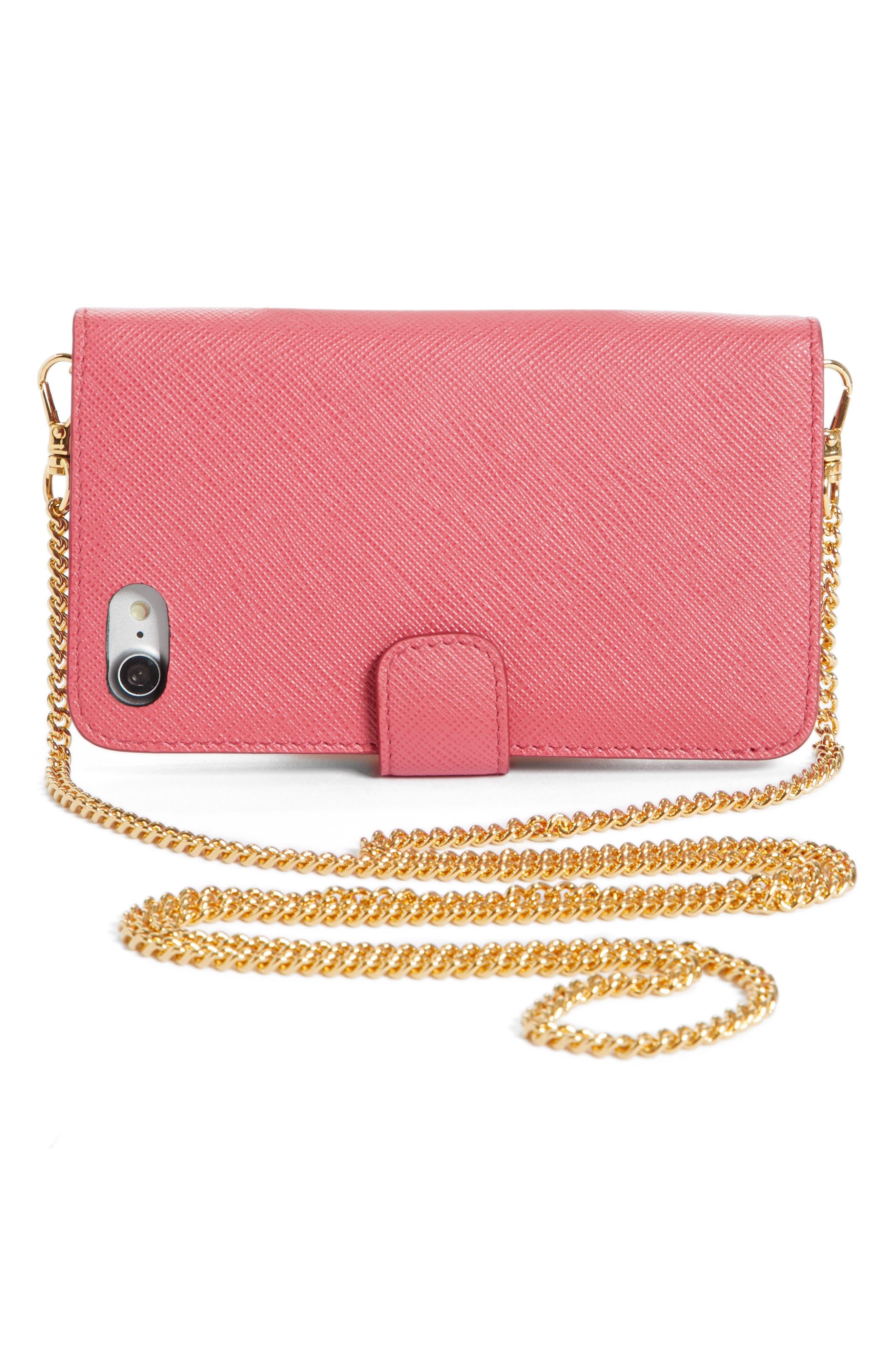 Saffiano Metal Oro Chain Book Phone Wallet,                             Alternate thumbnail 14, color,