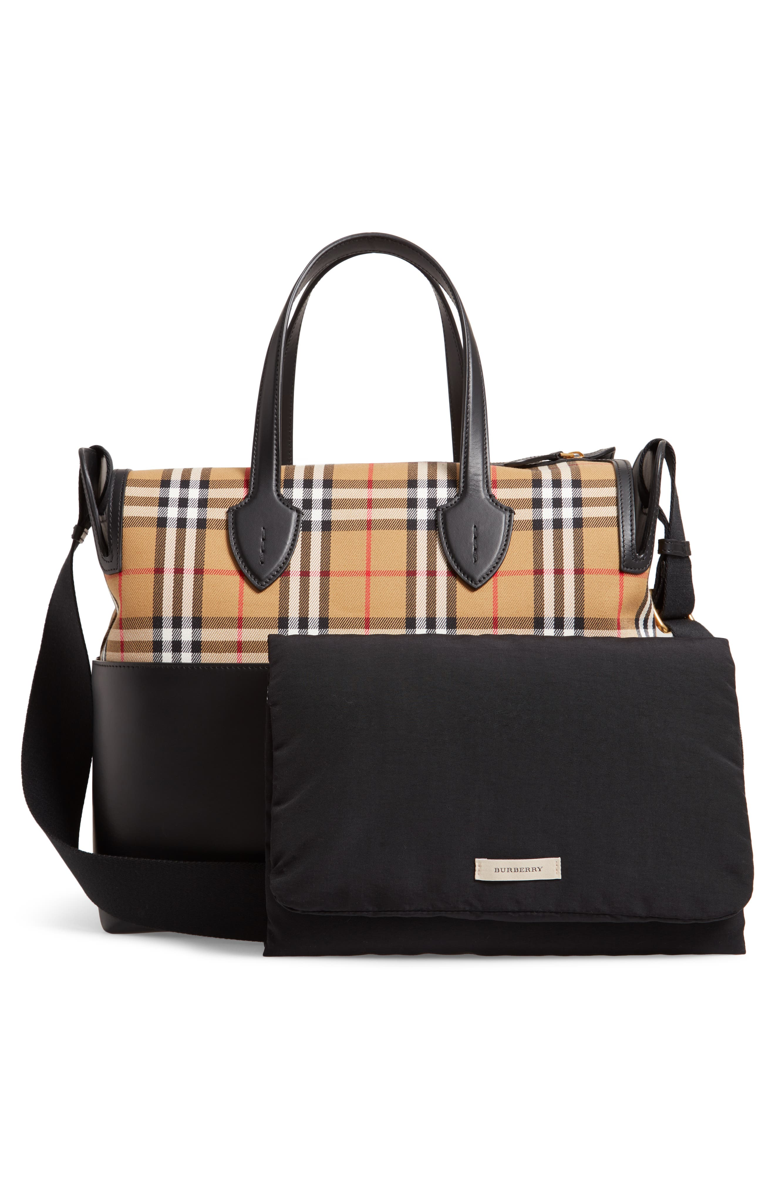 Kingswood Vintage Check & Leather Diaper Tote,                             Alternate thumbnail 3, color,                             BLACK