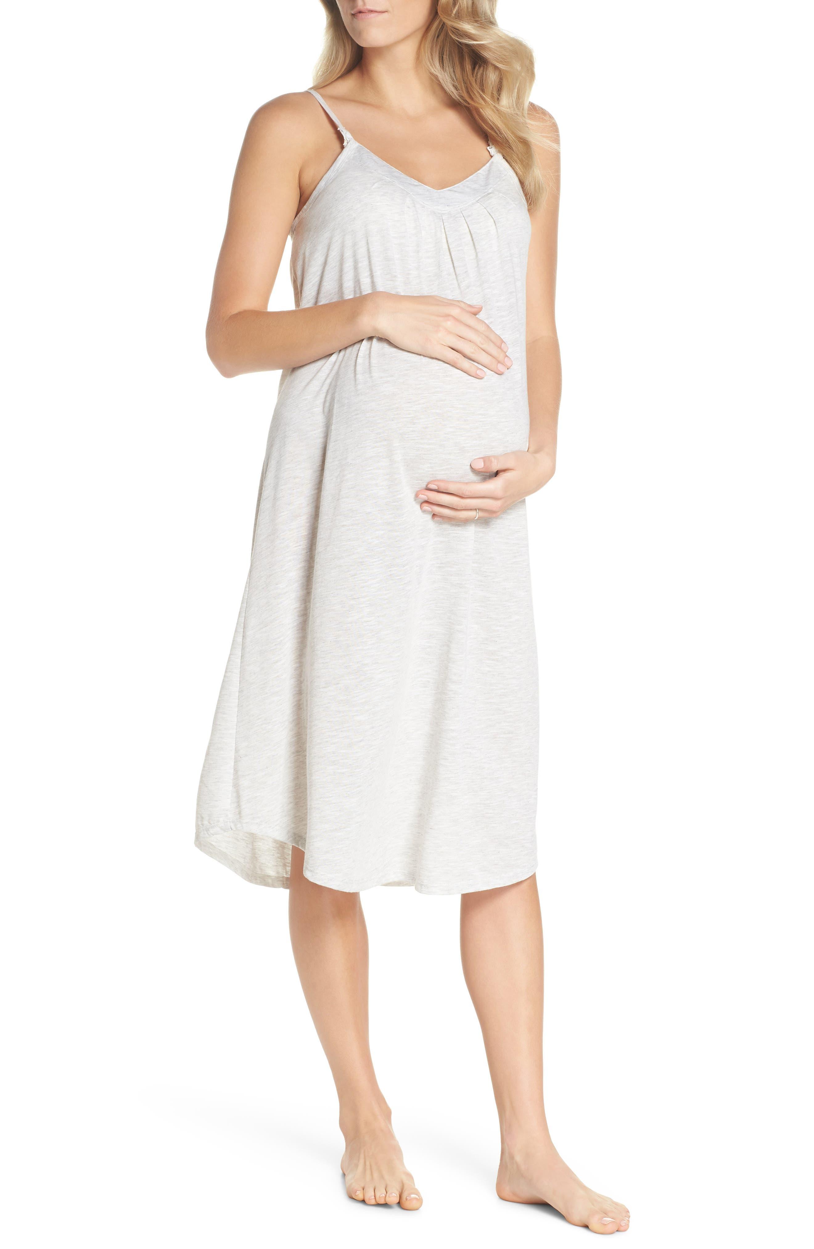 Summer Maternity/Nursing Chemise,                         Main,                         color, OATMEAL