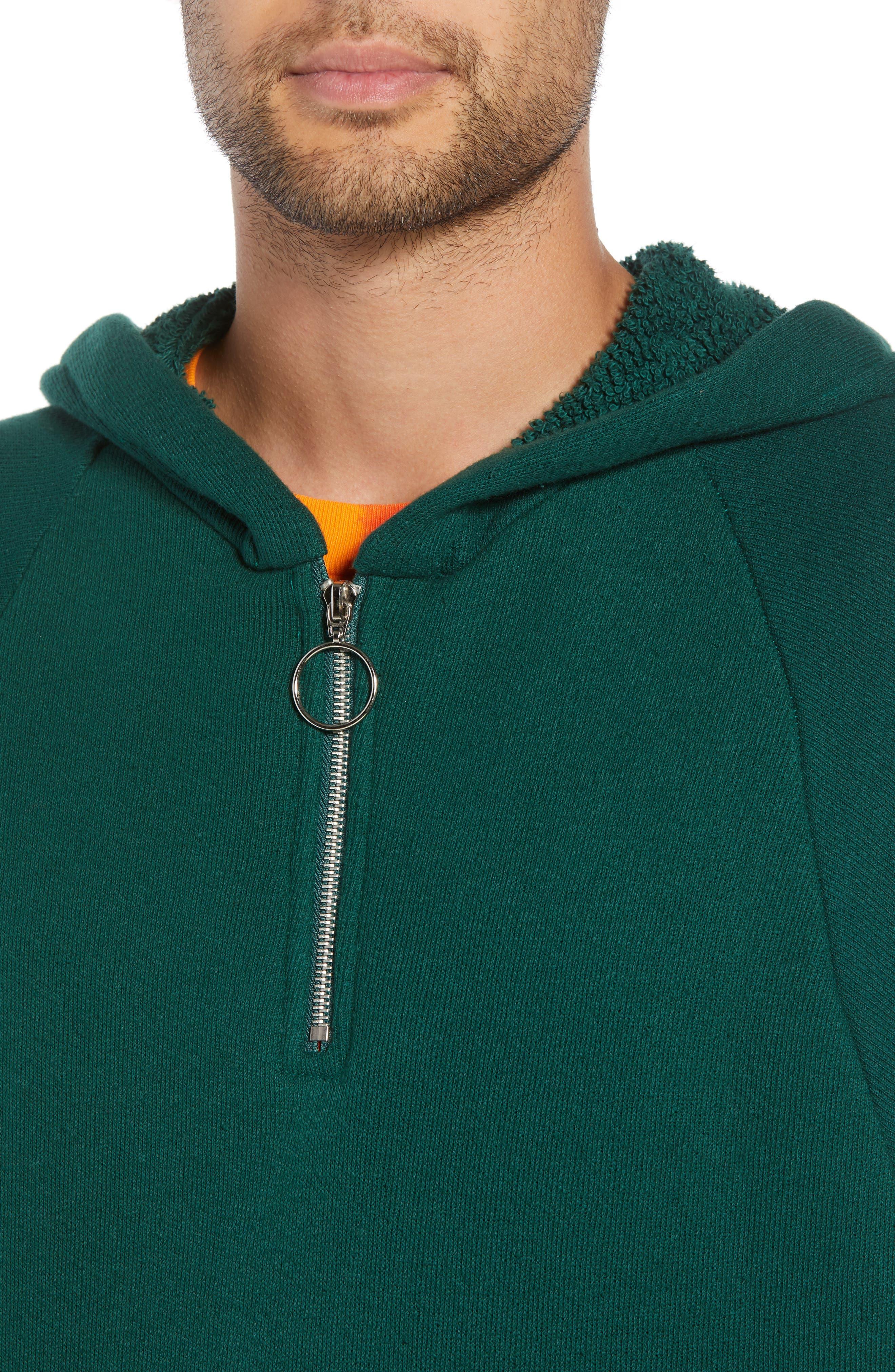 Warwick Quarter-Zip Hoodie Sweatshirt,                             Alternate thumbnail 4, color,                             HUNTER GREEN