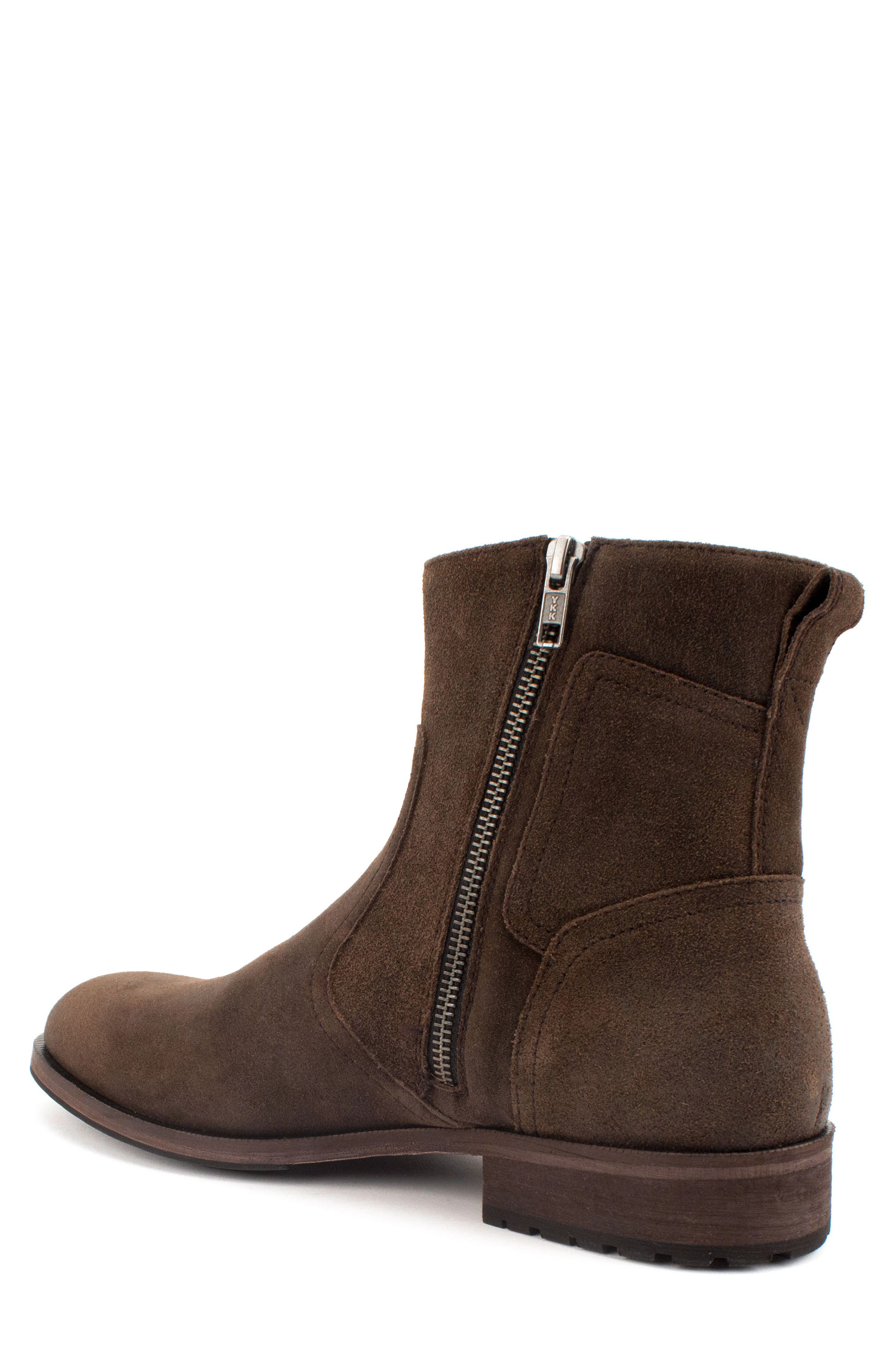 Fayette Plain Toe Zip Boot,                             Alternate thumbnail 2, color,                             CHOCOLATE SUEDE