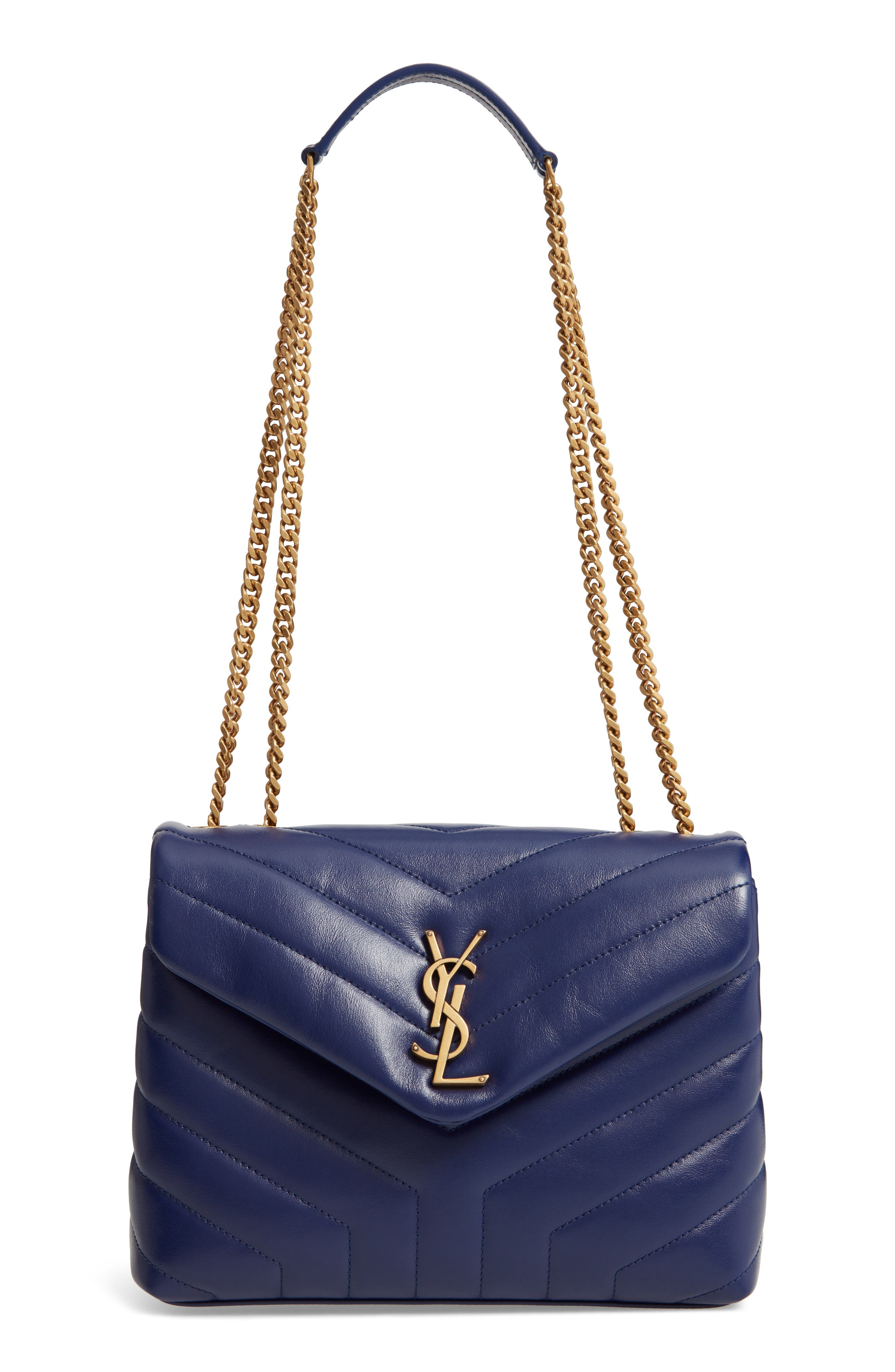 Small Loulou Leather Shoulder Bag,                             Main thumbnail 1, color,                             SAPHIR
