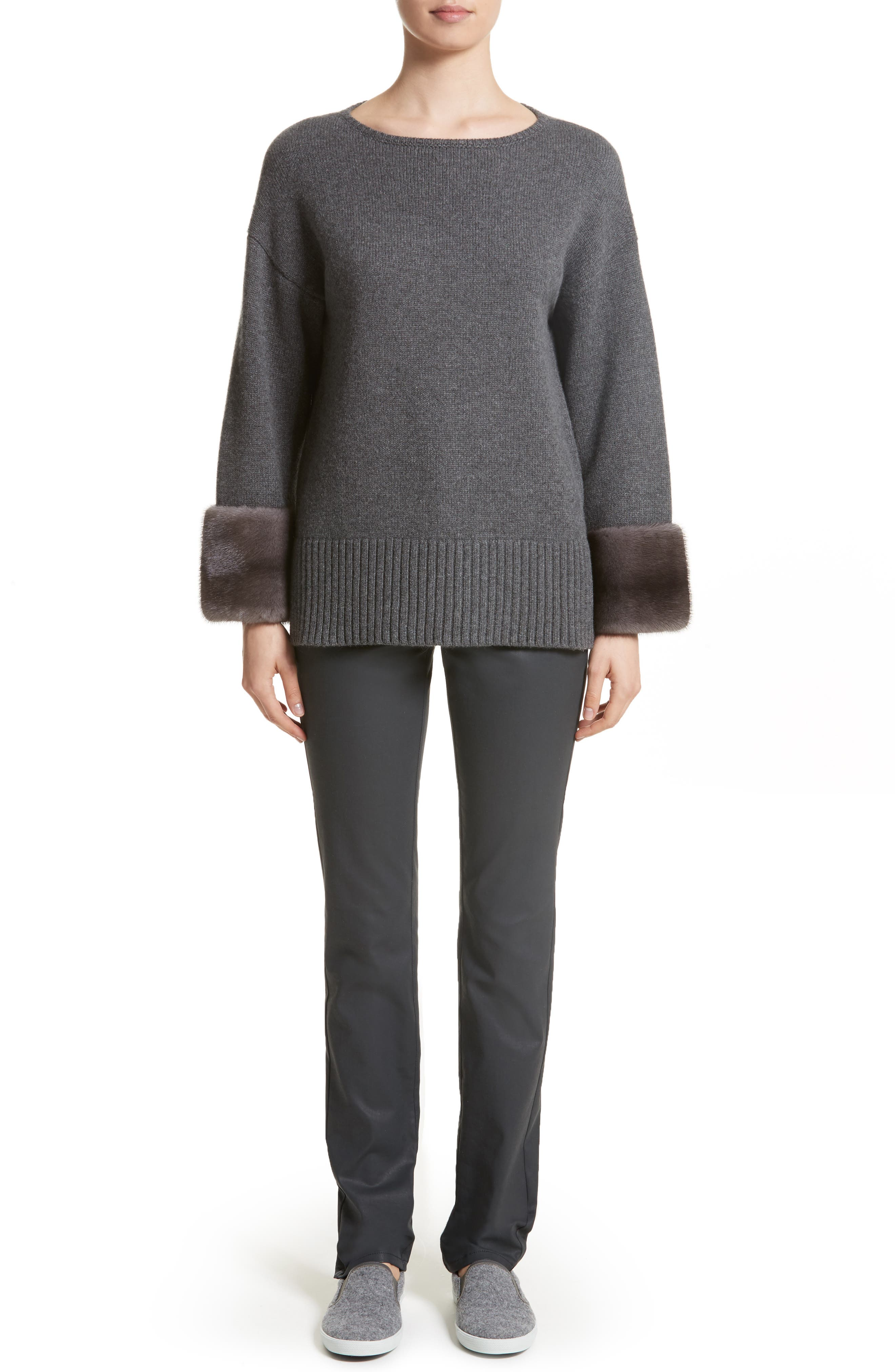 Cashmere Sweater with Genuine Mink Fur Cuffs,                             Alternate thumbnail 7, color,                             020