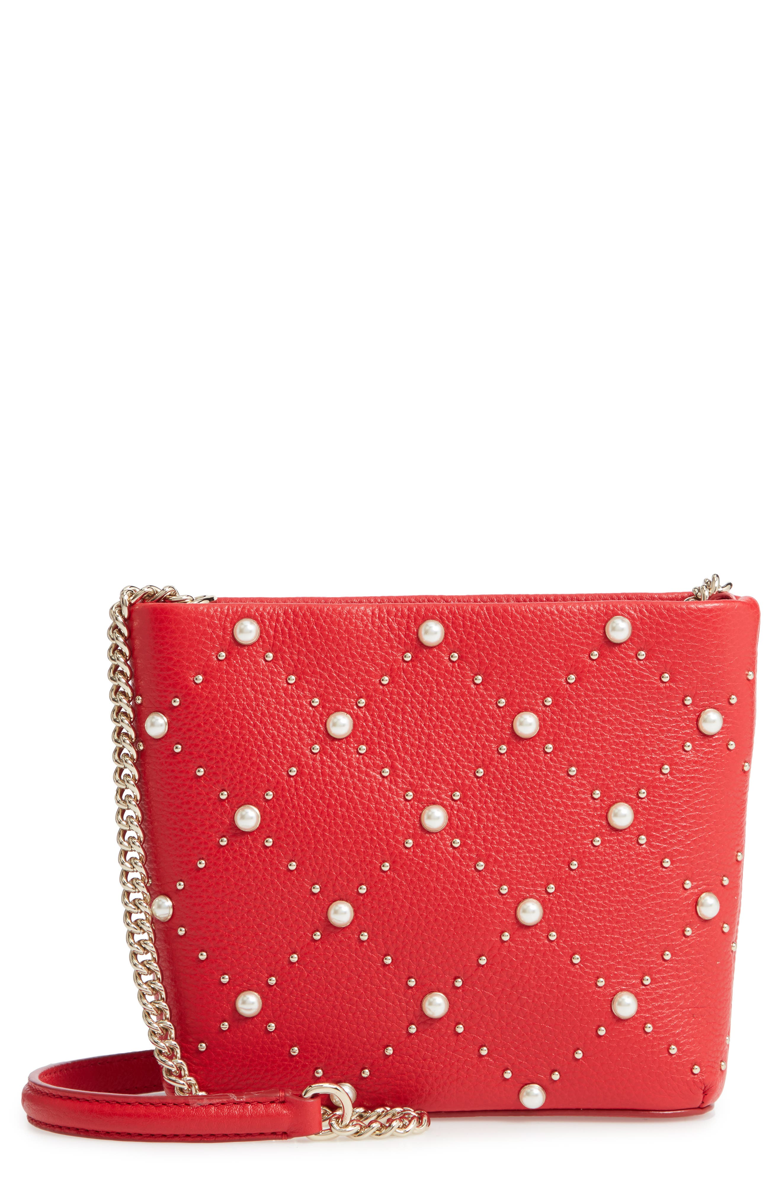 Hayes Street - Ellery Imitation Pearl Studded Leather Crossbody Bag - Red in Royal Red