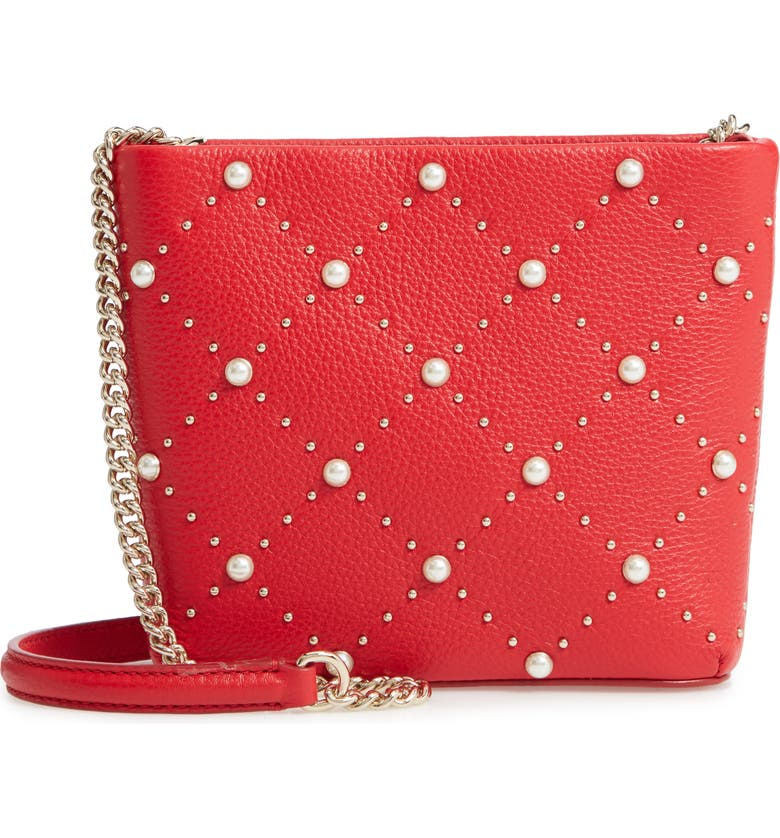 Kate Spade Leathers HAYES STREET - ELLERY IMITATION PEARL STUDDED LEATHER CROSSBODY BAG - RED