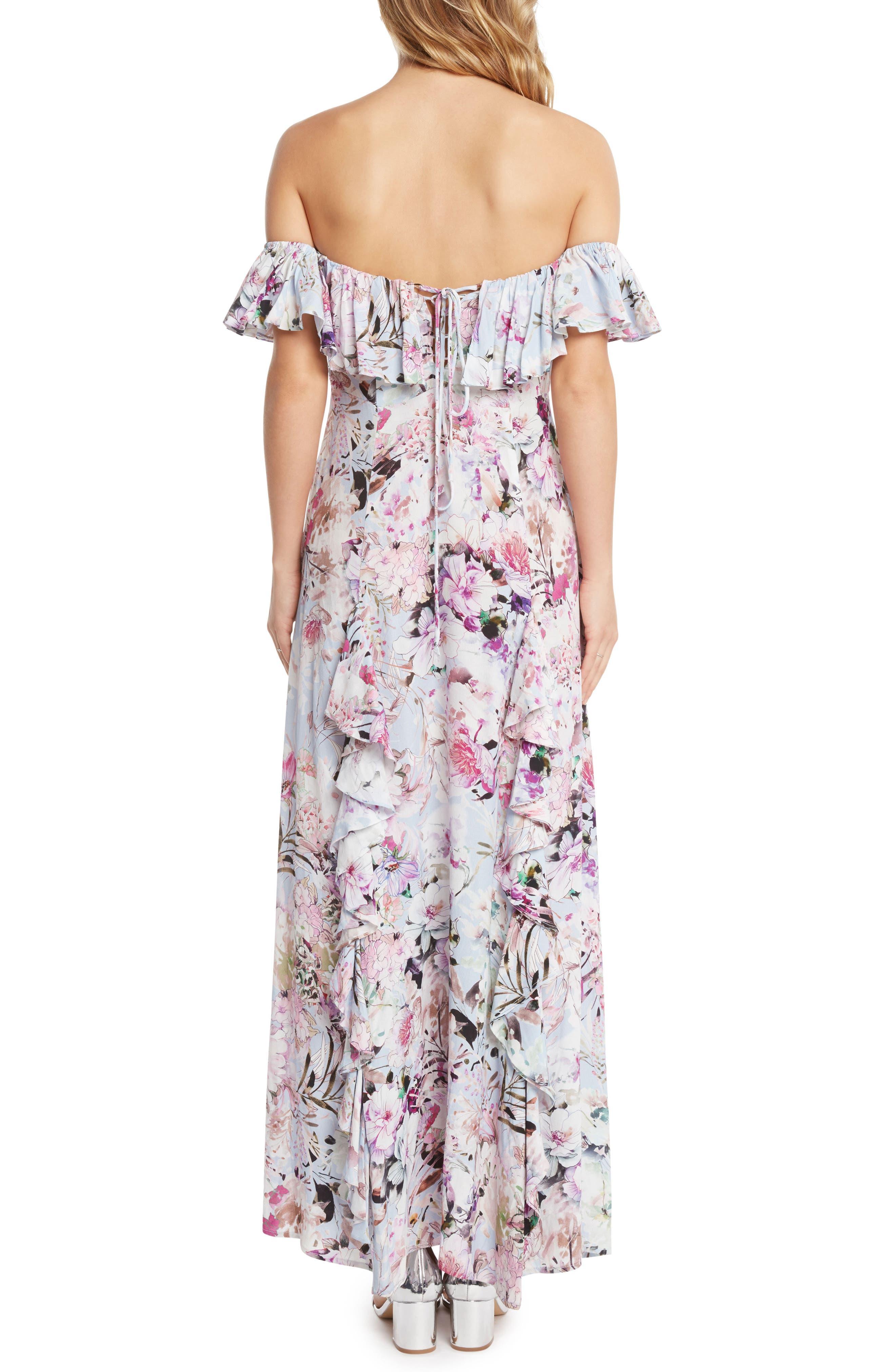 Floral Print Ruffle Maxi Dress,                             Alternate thumbnail 2, color,                             530