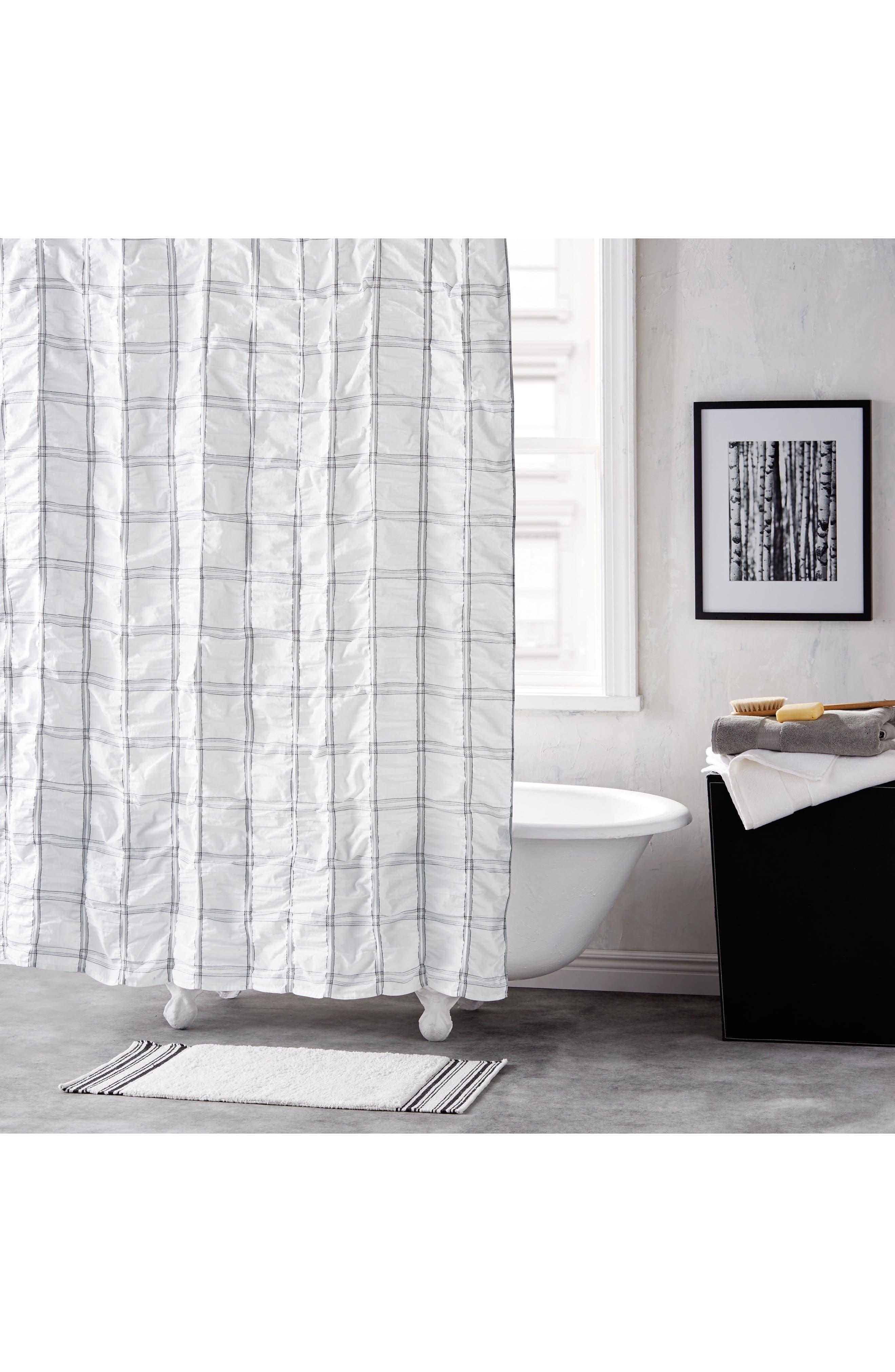 Check Please Shower Curtain,                             Main thumbnail 1, color,                             100