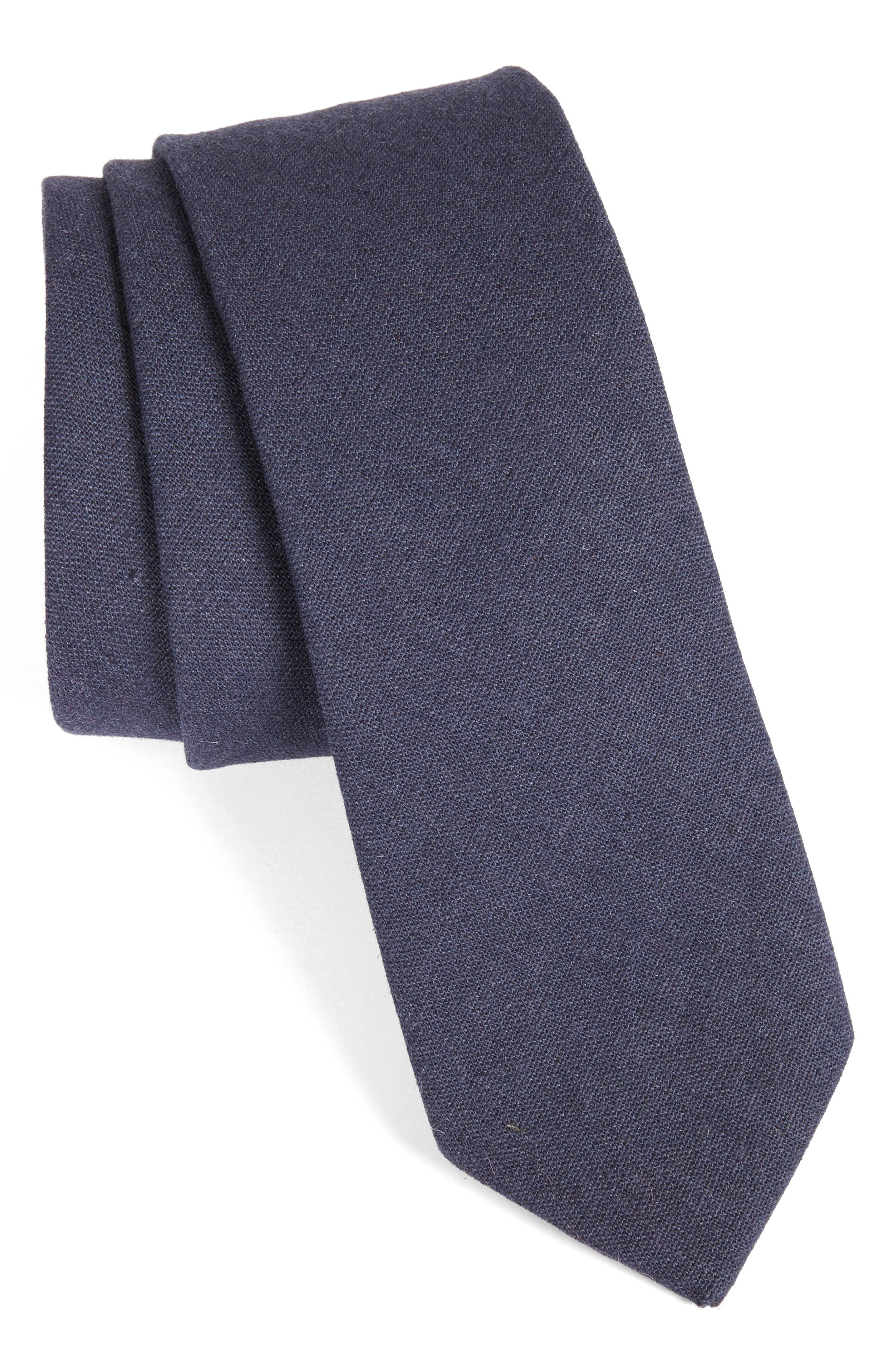 Solid Linen & Cotton Tie,                         Main,                         color, NAVY