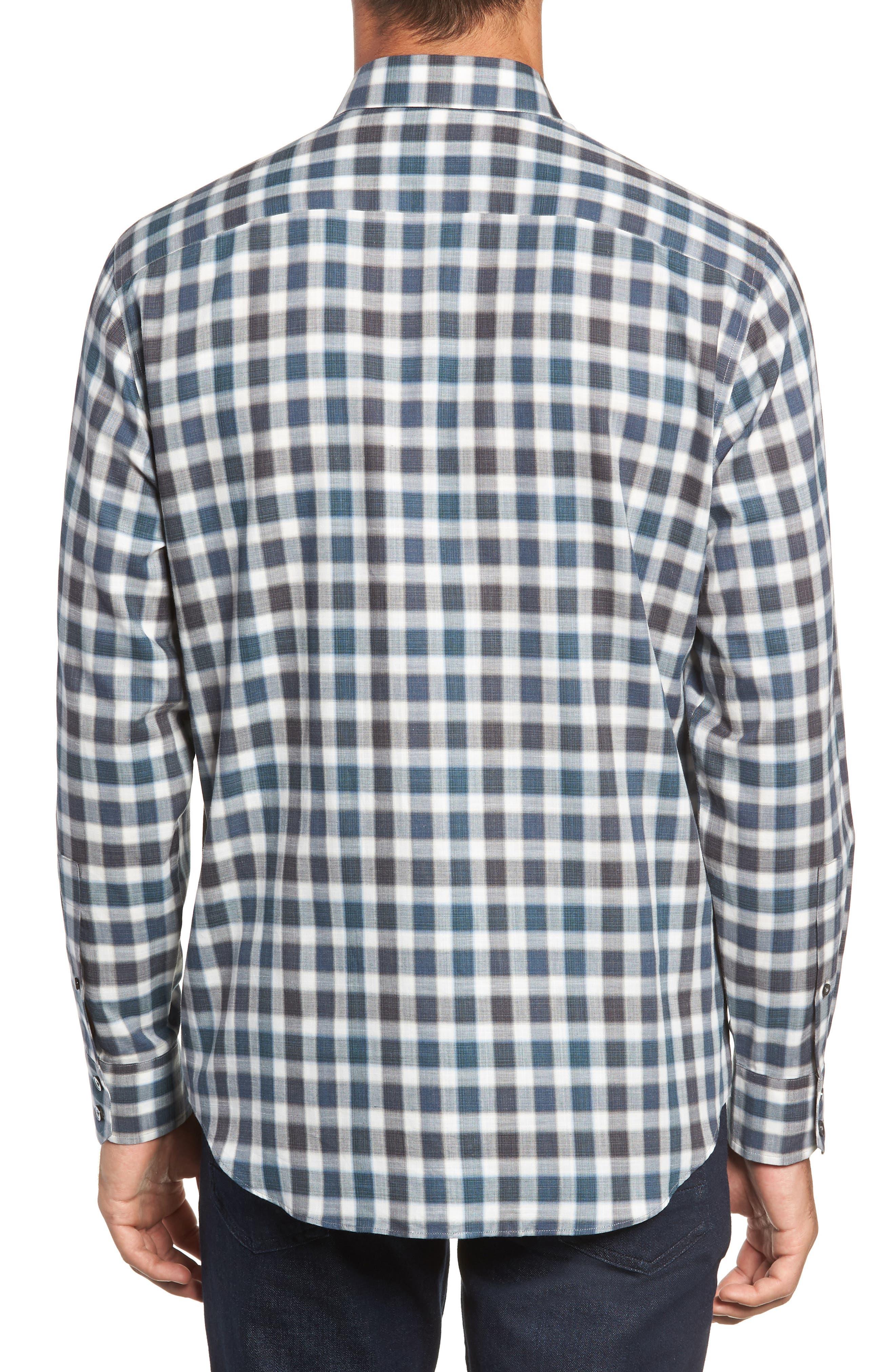 Buffa Plaid Flannel Sport Shirt,                             Alternate thumbnail 3, color,                             DARK TEAL