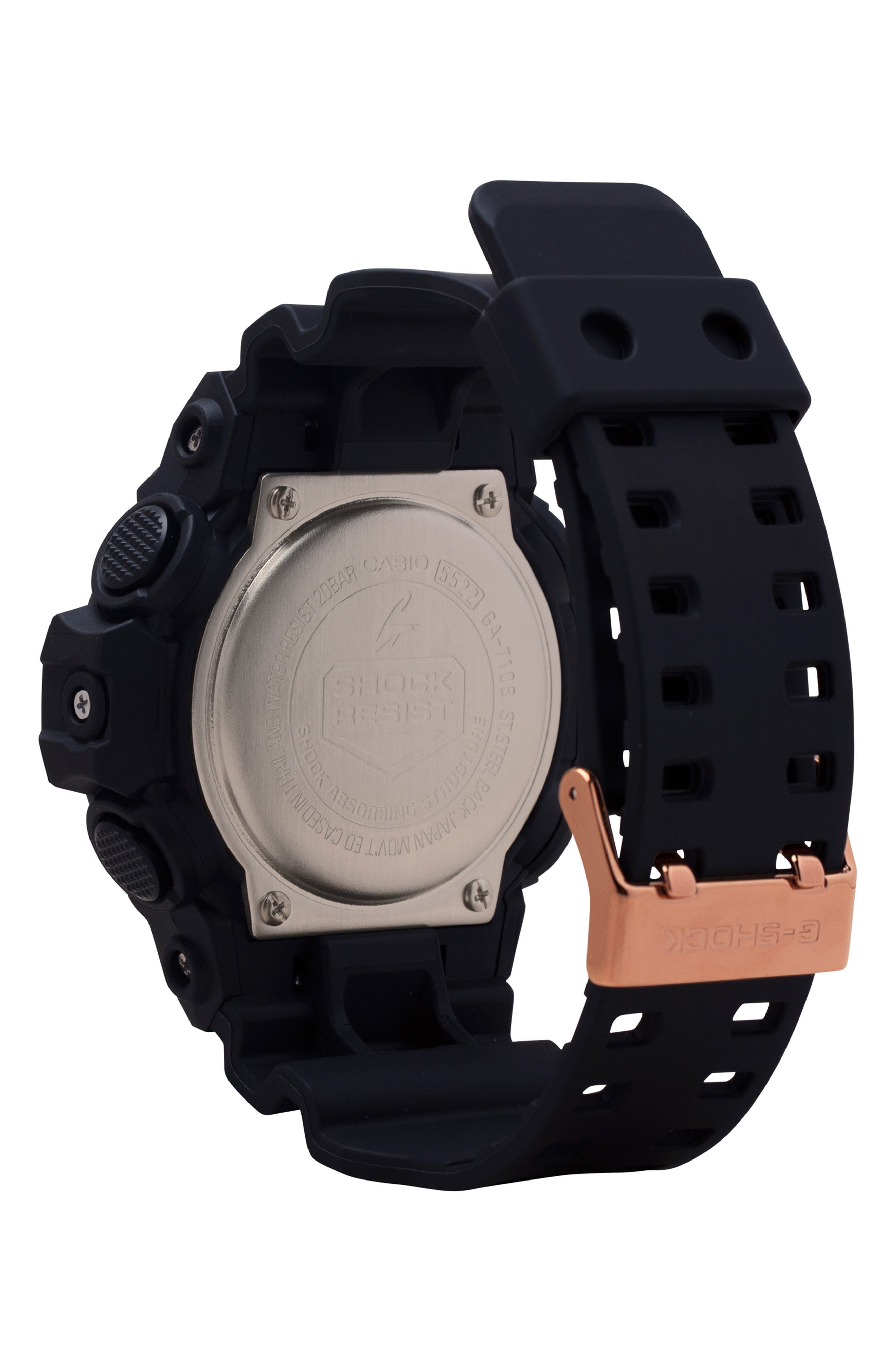 Ana-Digi Resin Watch, 53mm,                             Alternate thumbnail 2, color,                             BLACK/ ROSE GOLD