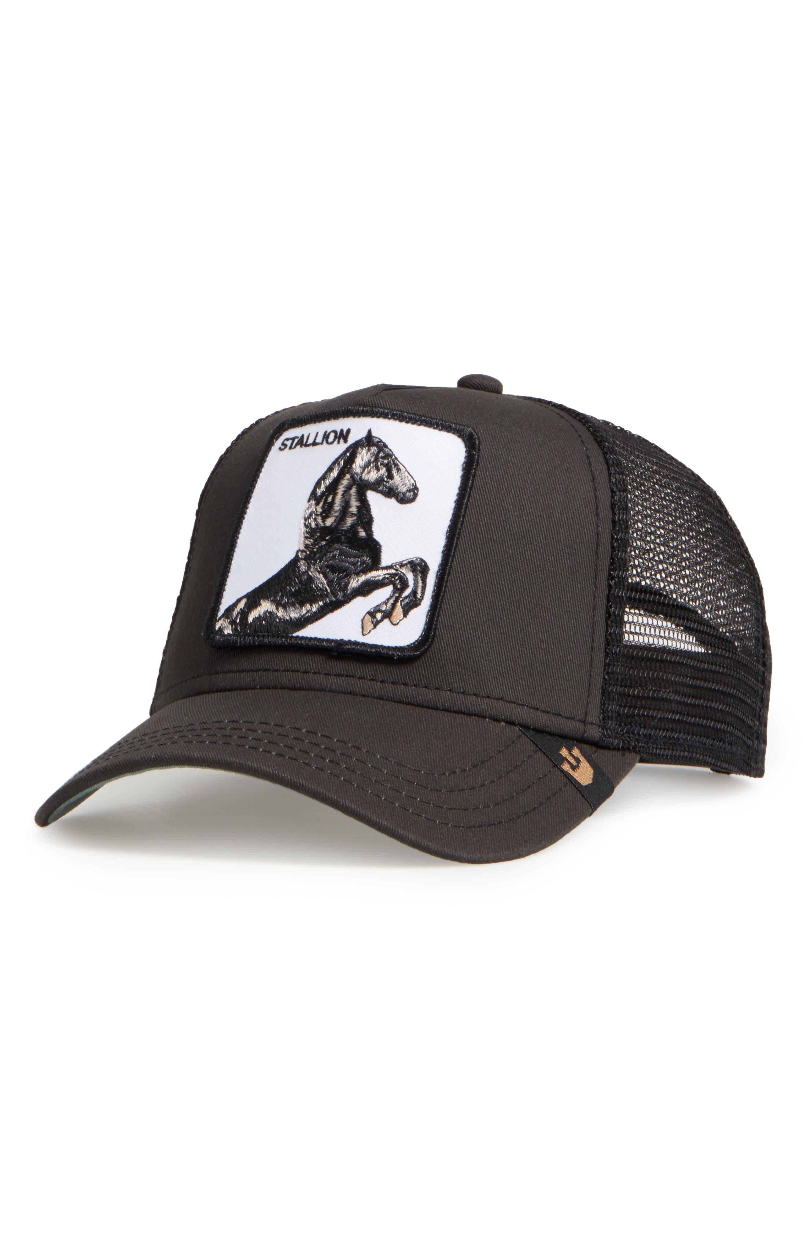 'Stallion' Trucker Hat,                             Alternate thumbnail 2, color,                             BLACK