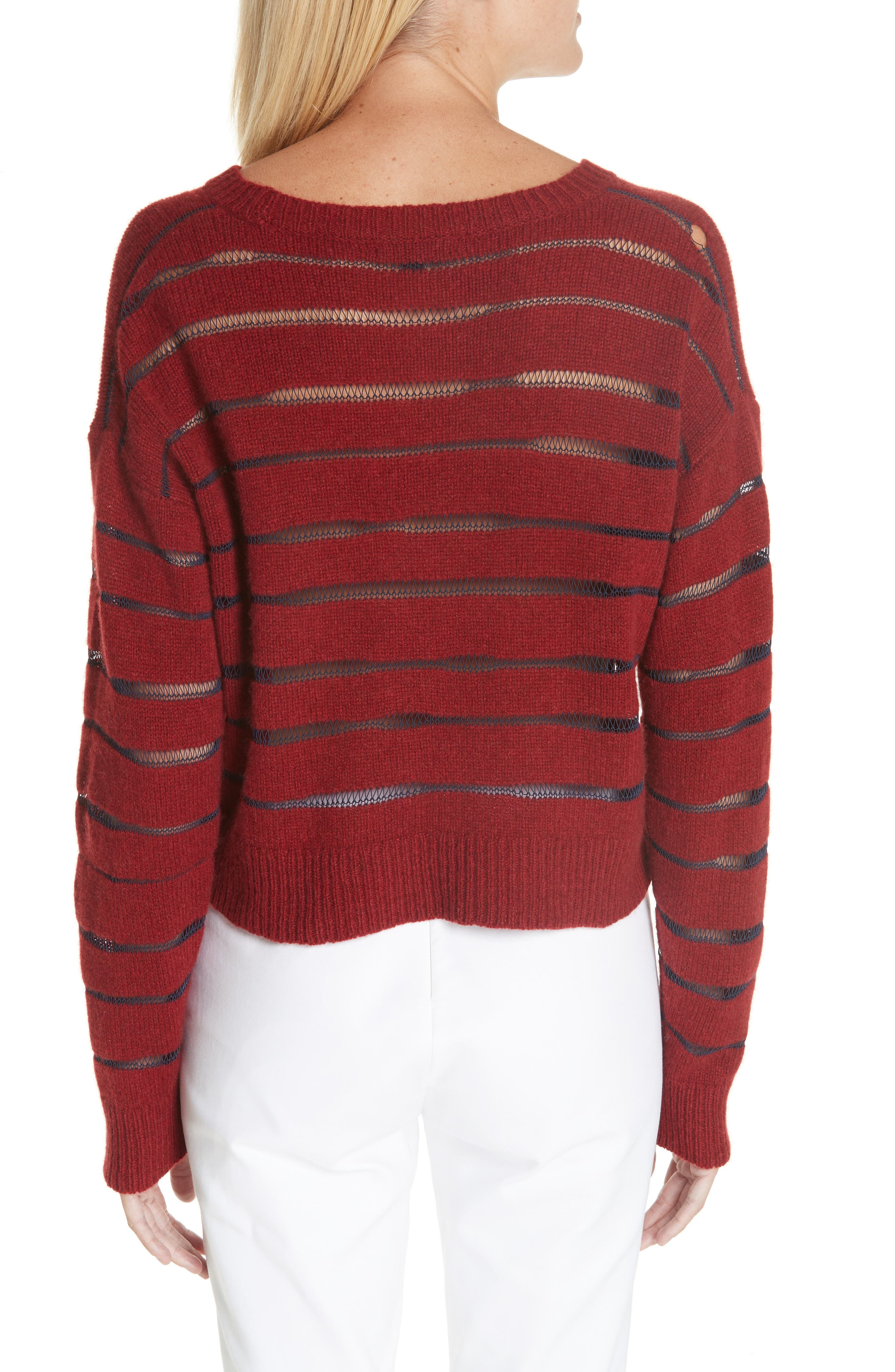 Penn Sheer Stripe Crop Sweater,                             Alternate thumbnail 2, color,                             068