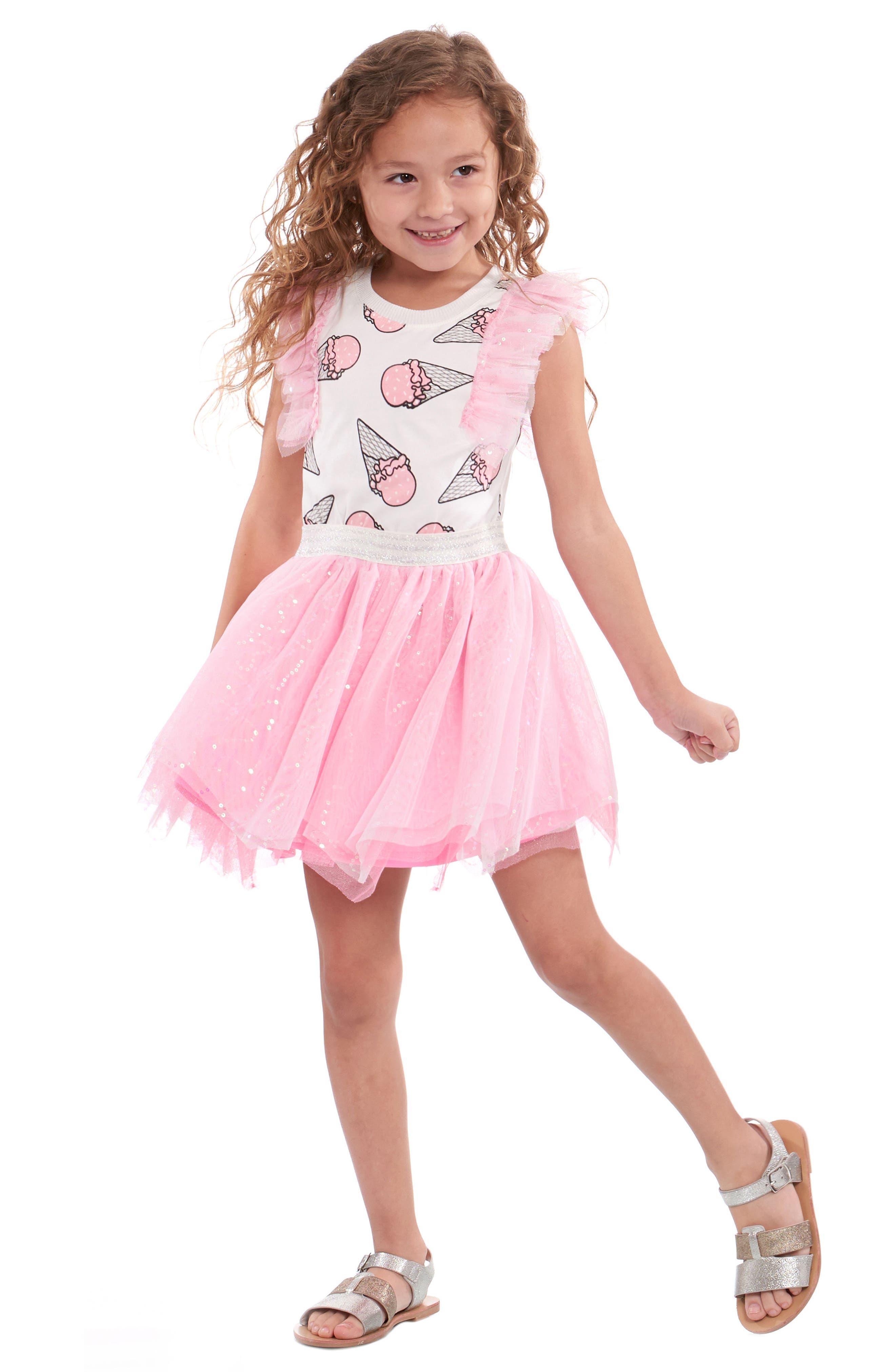 Ice Cream Print Dress,                         Main,                         color, PINK MULTI
