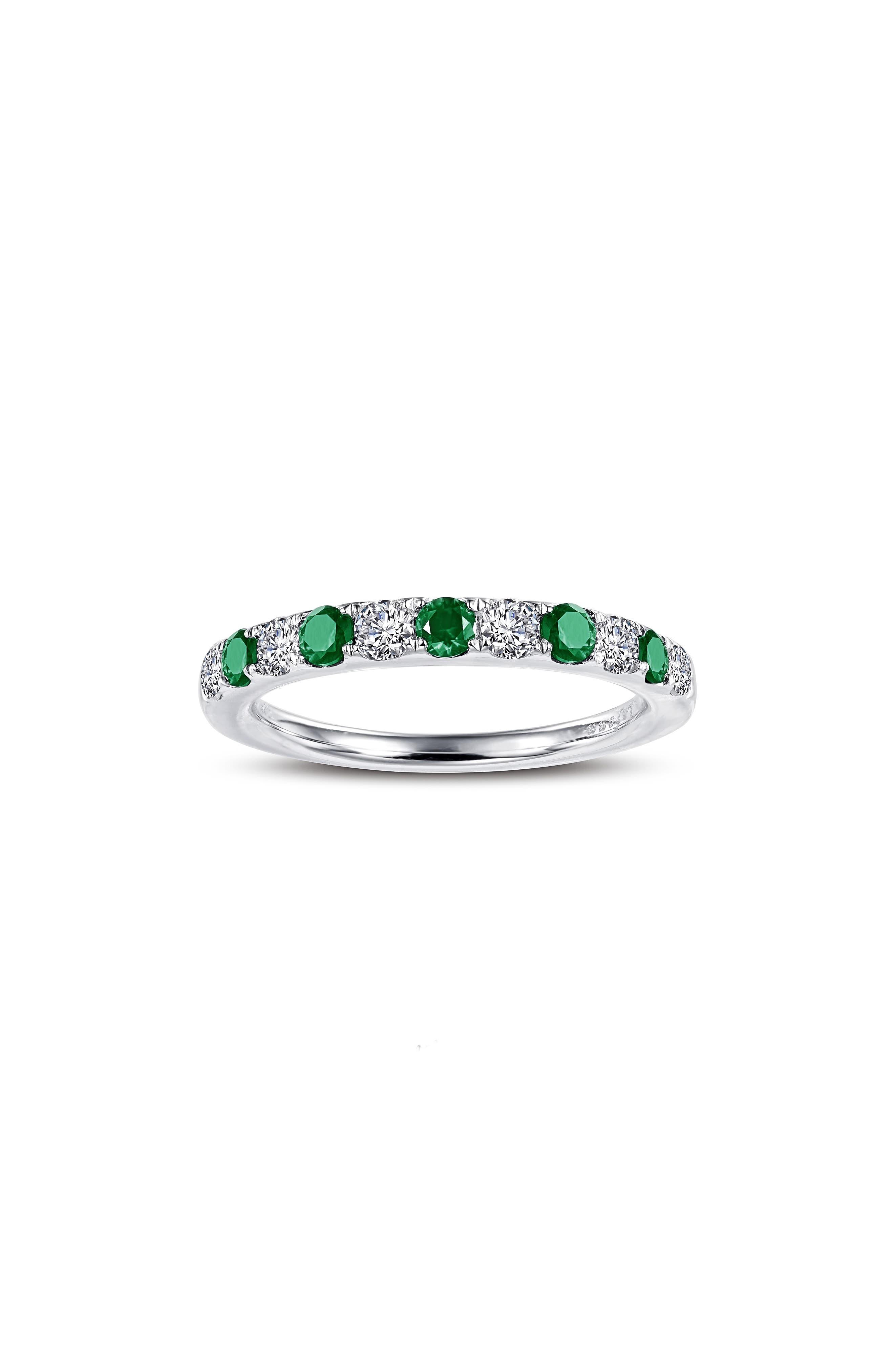 Simulated Diamond Birthstone Band Ring,                             Main thumbnail 1, color,                             MAY - GREEN/ SILVER