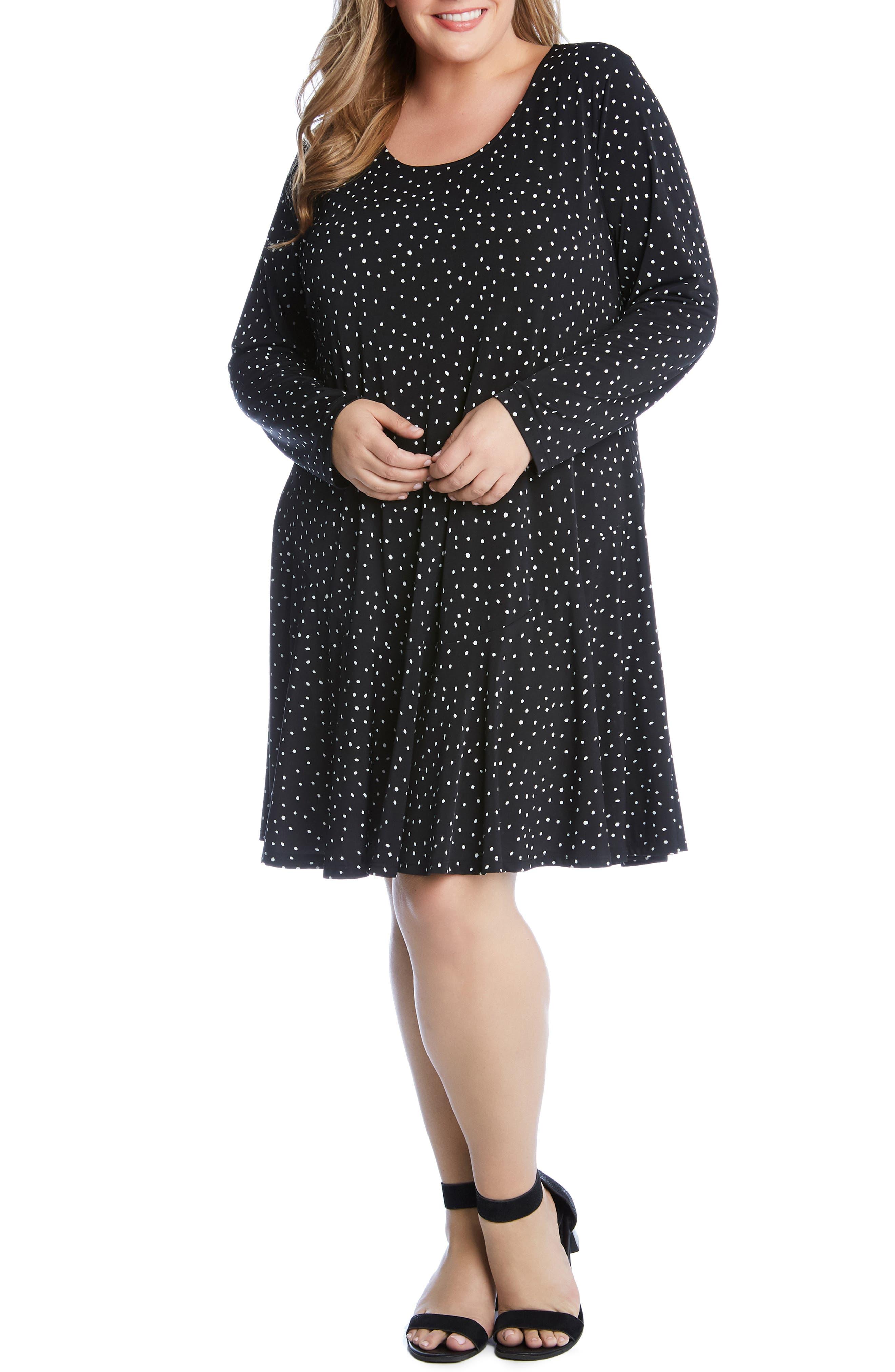 Plus Size Karen Kane Dakota Dot Jersey A-Line Dress, Black