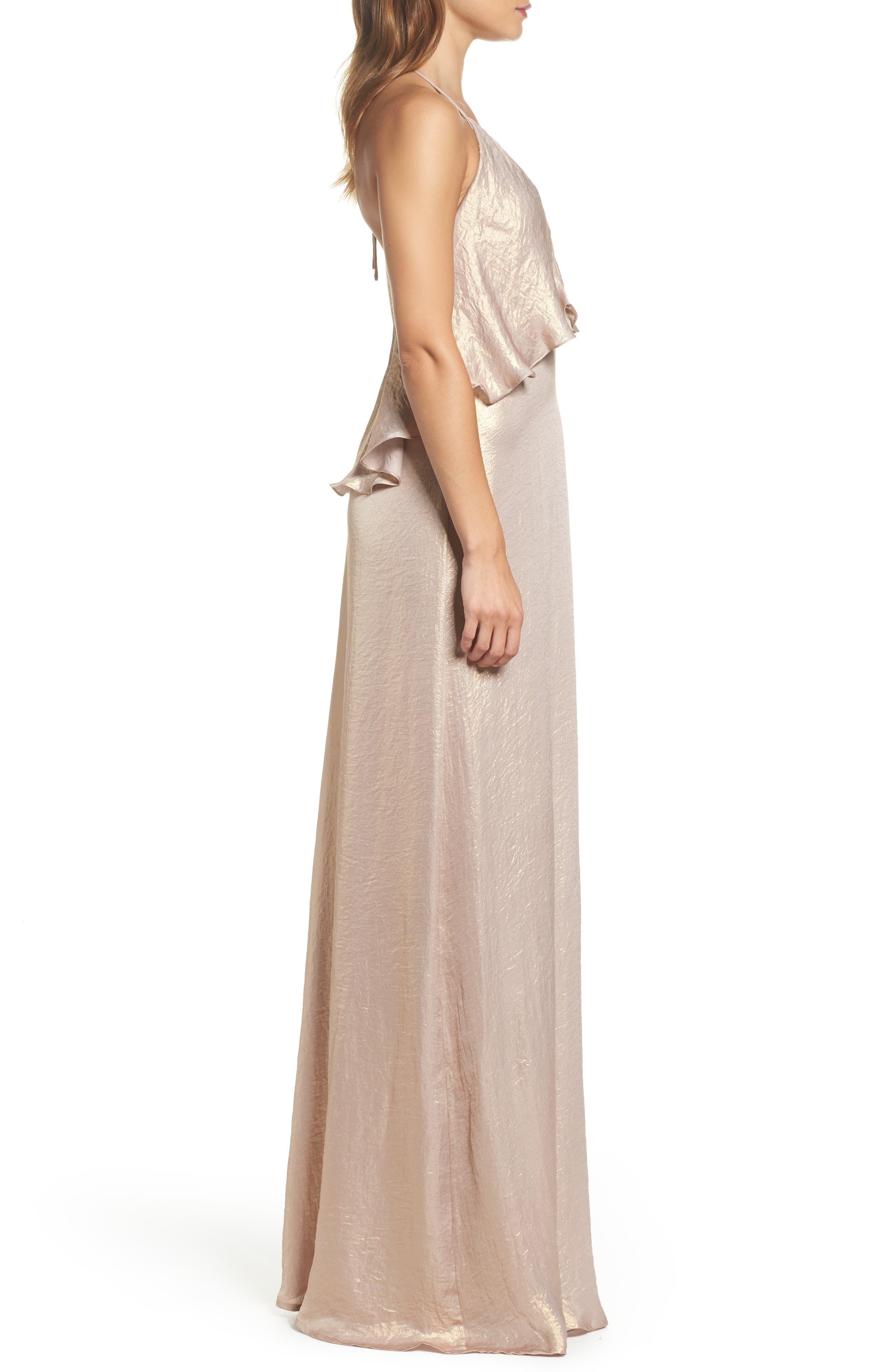 Crushed Satin Popover Halter Gown,                             Alternate thumbnail 3, color,                             710