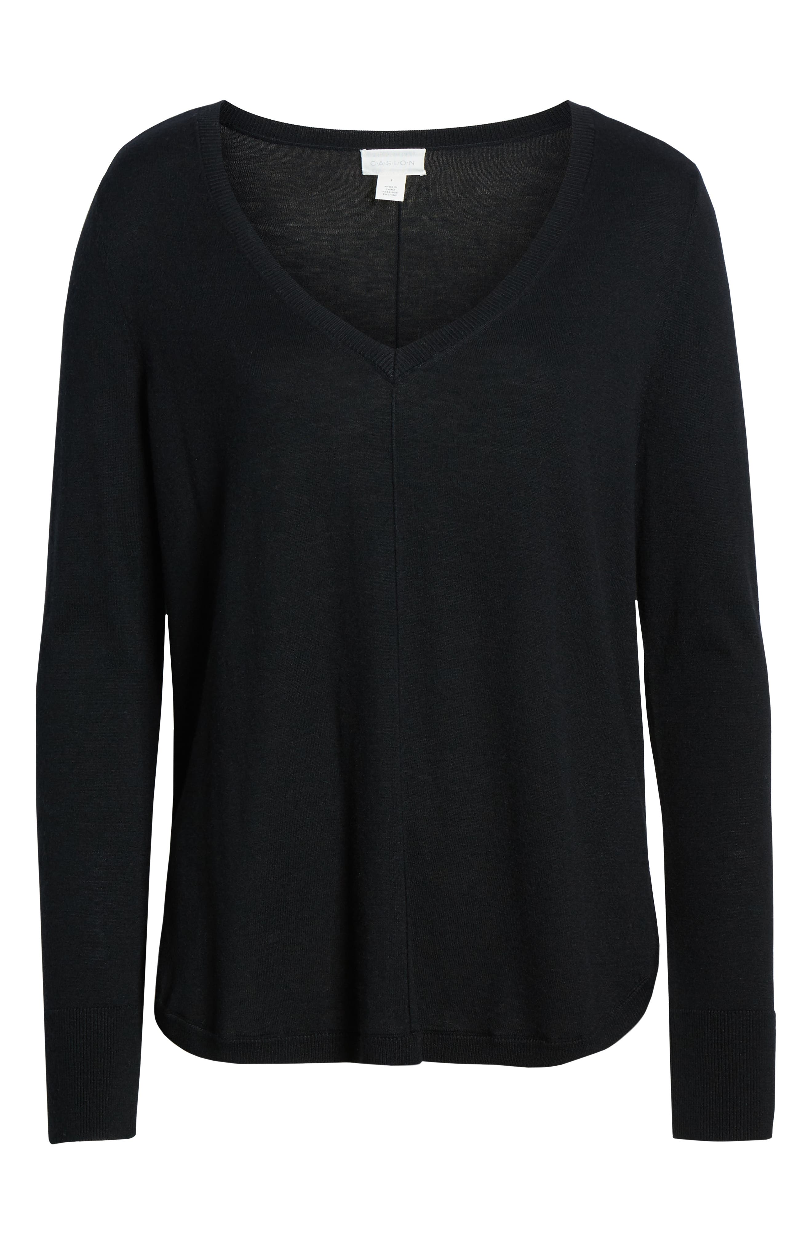 High-Low V-neck Sweater,                             Alternate thumbnail 7, color,                             001