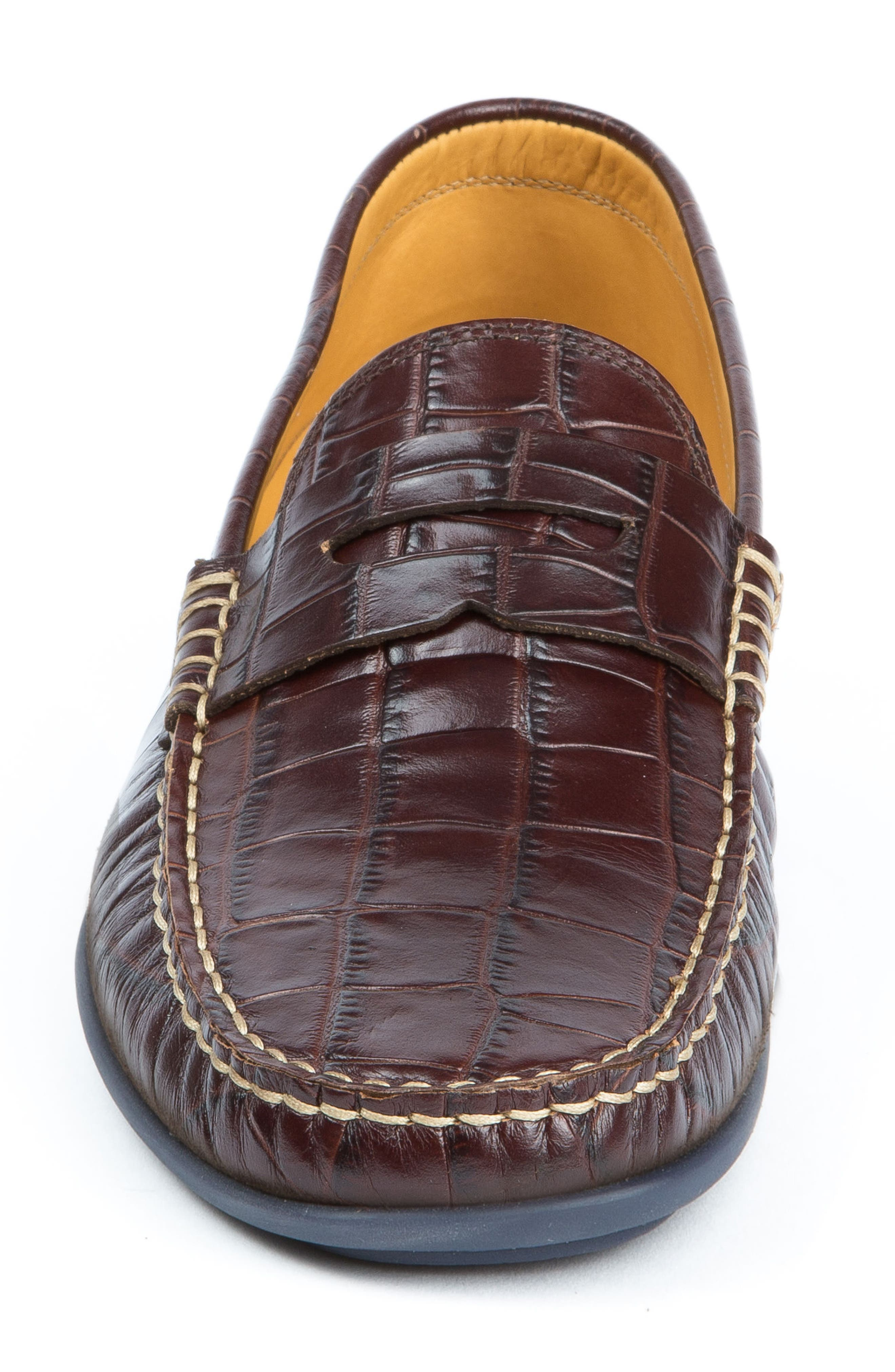 'Waverly' Leather Penny Loafer,                             Alternate thumbnail 4, color,                             BROWN