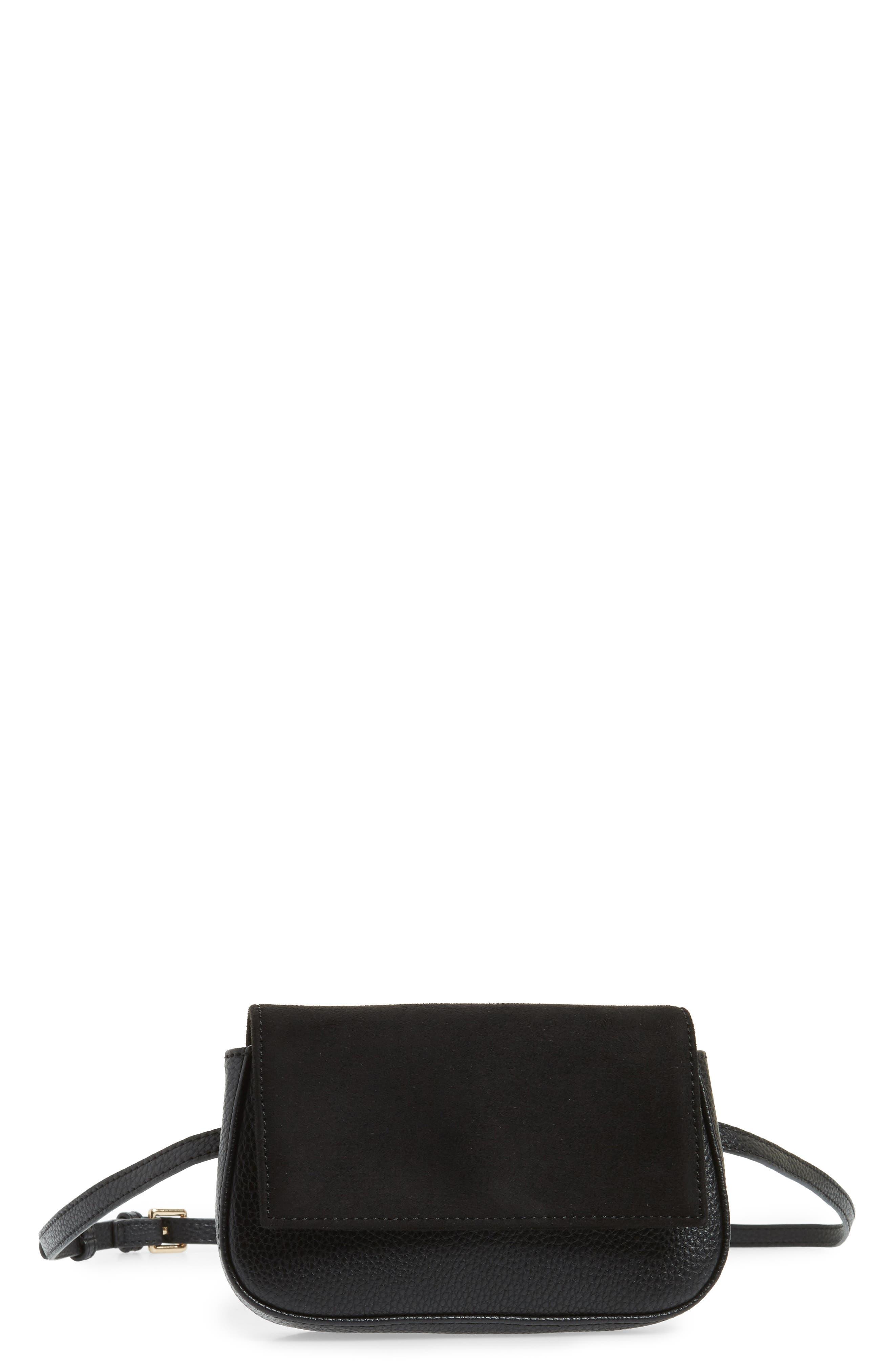SOLE SOCIETY Kinza Belt Bag, Main, color, BLACK