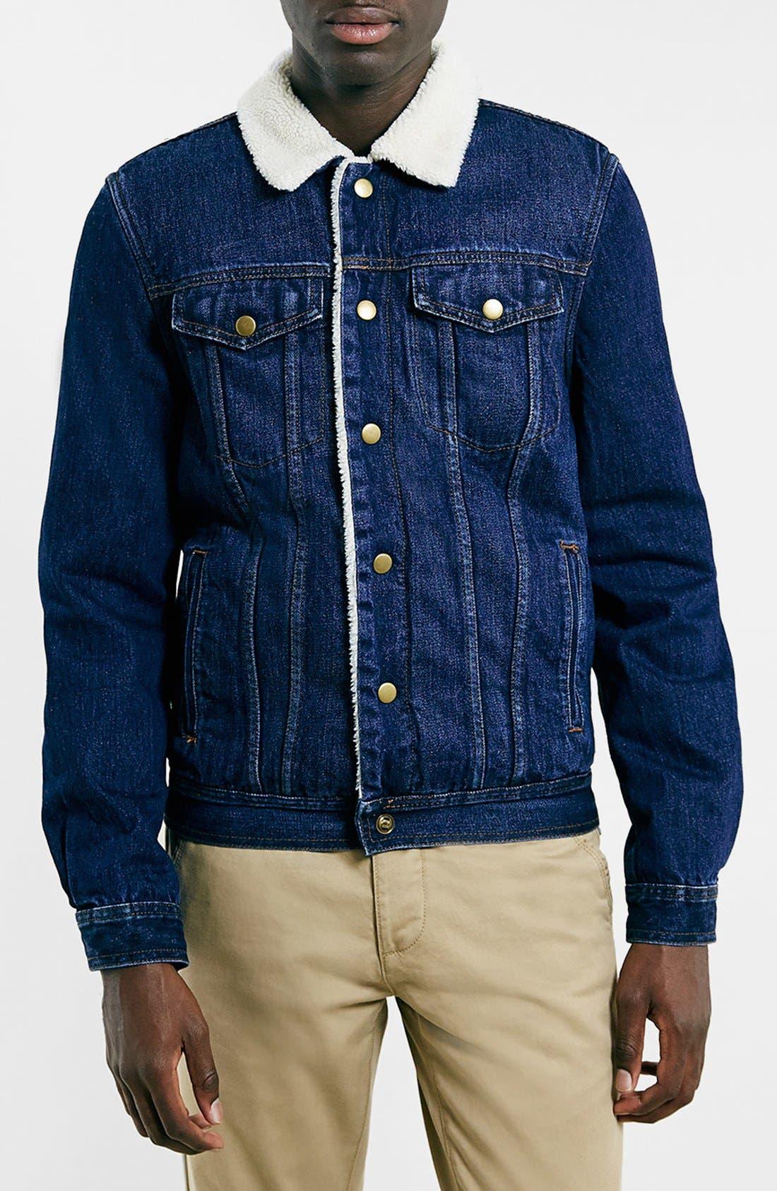 TOPMAN Faux Fur Lined Denim Jacket, Main, color, 400