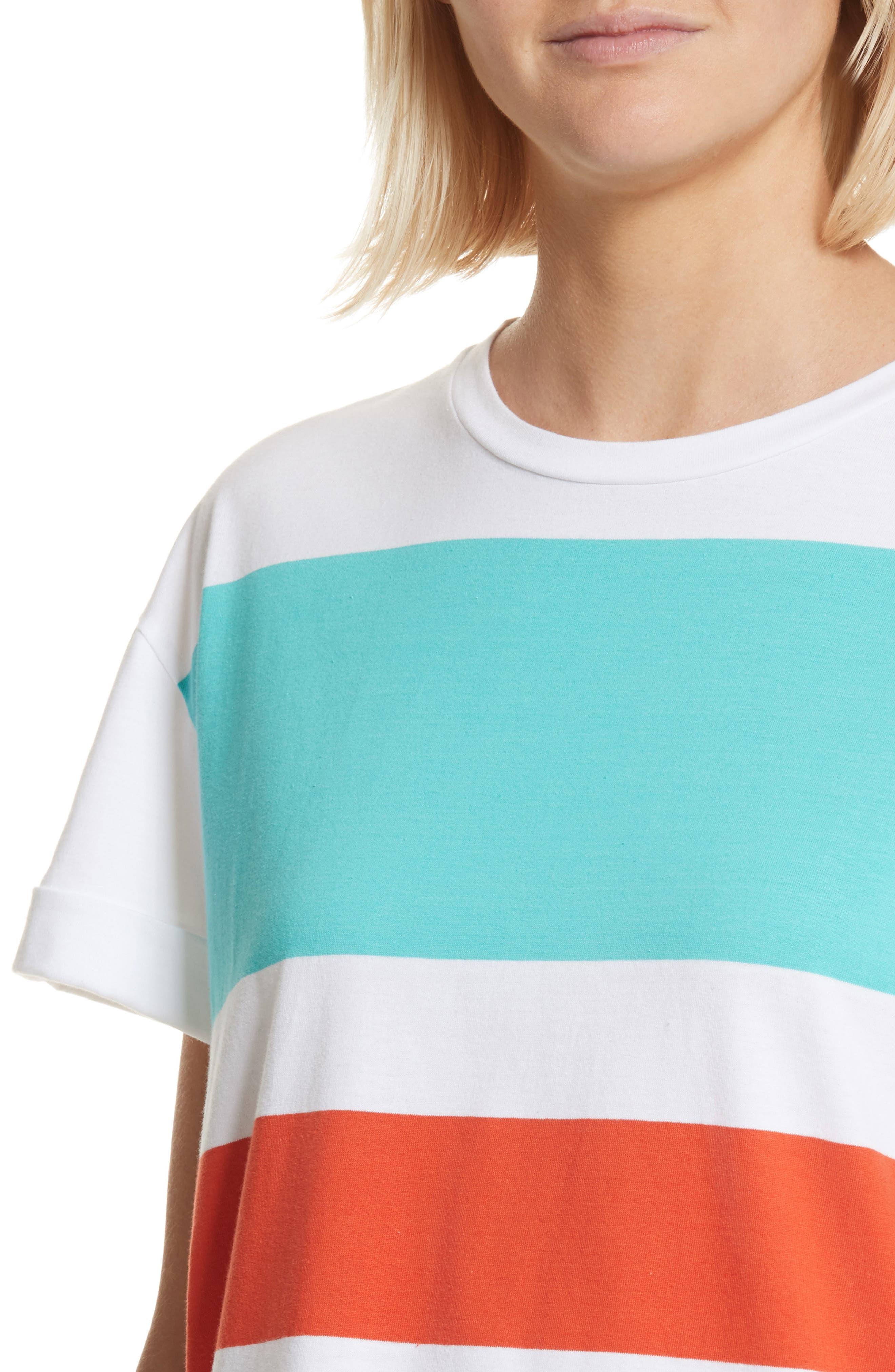 être cécile Big Stripe Oversize Dress,                             Alternate thumbnail 4, color,                             100
