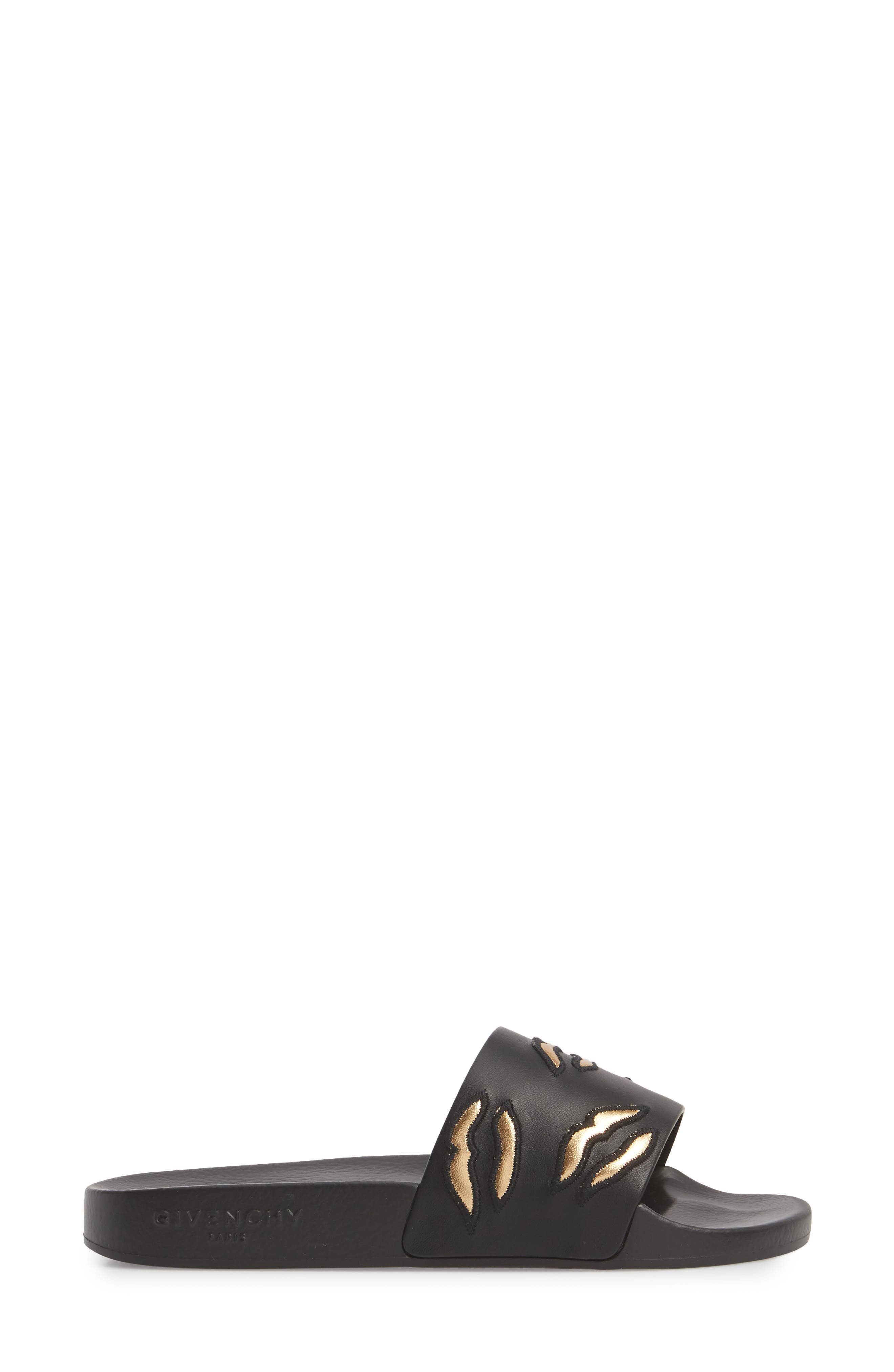 Kiss Slide Sandal,                             Alternate thumbnail 3, color,                             BLACK/ GOLD