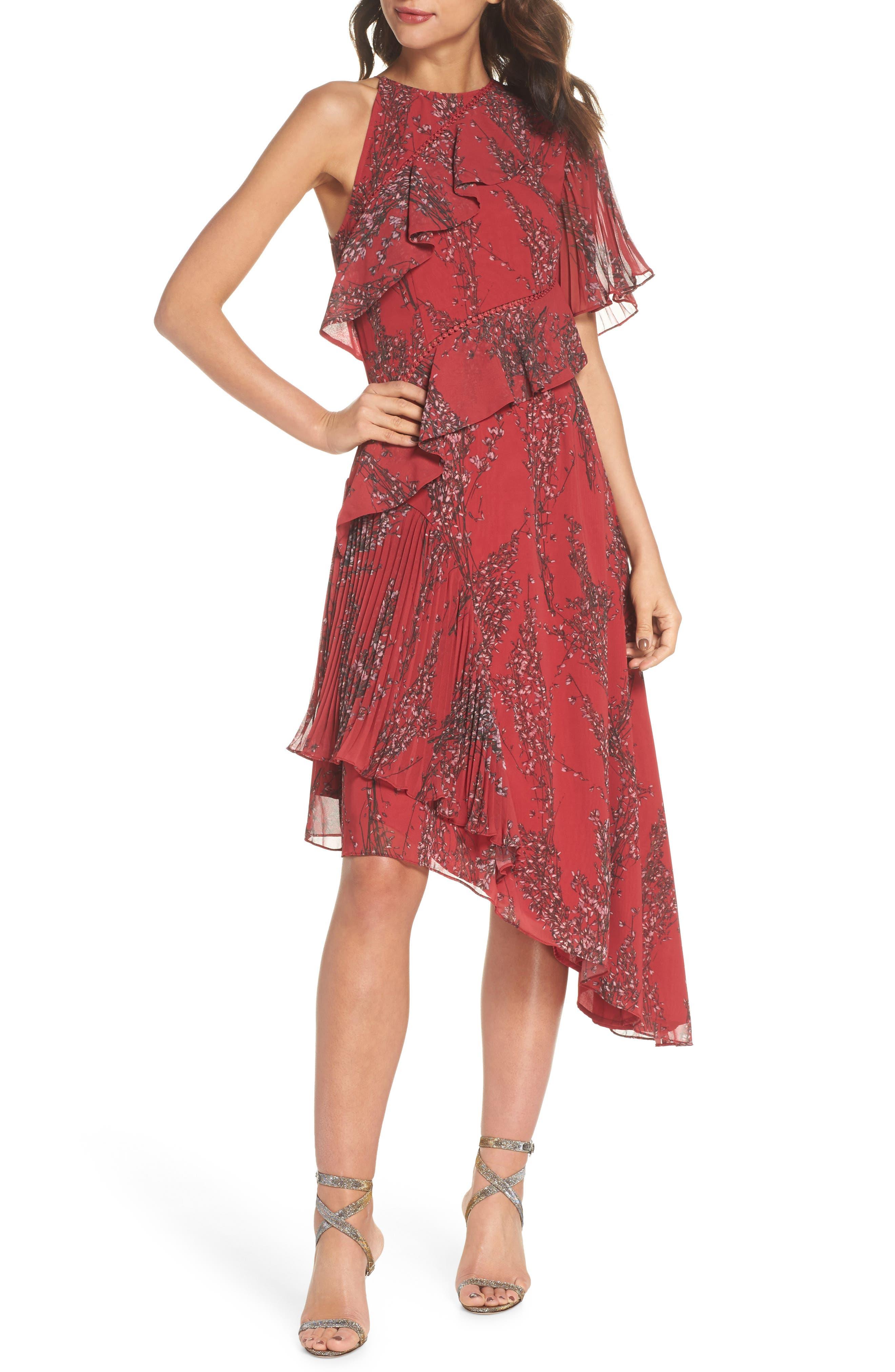 Asymmetrical Ruffle Dress,                             Main thumbnail 1, color,                             622