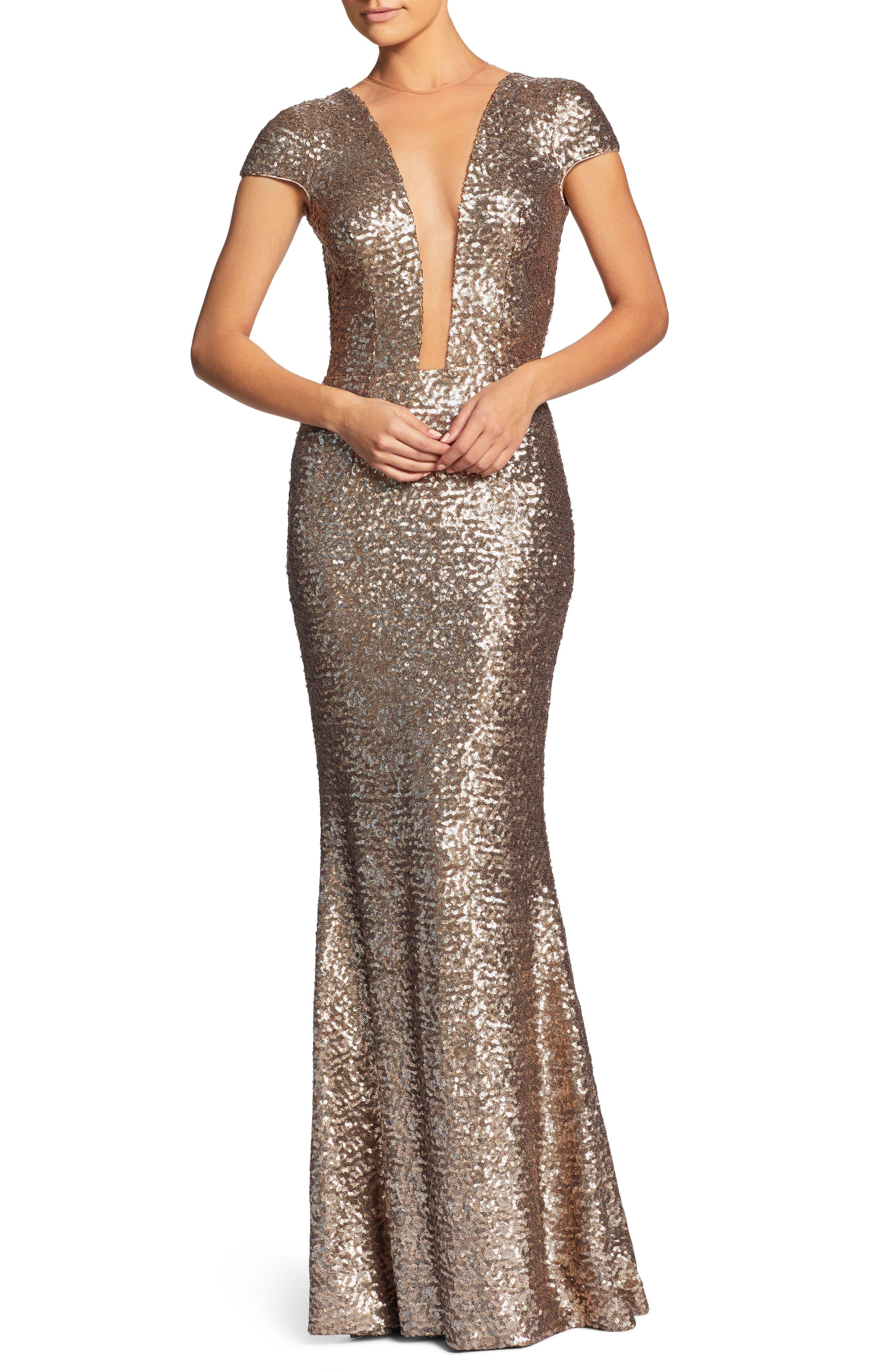Michelle Sequin Gown,                             Main thumbnail 1, color,                             BRASS