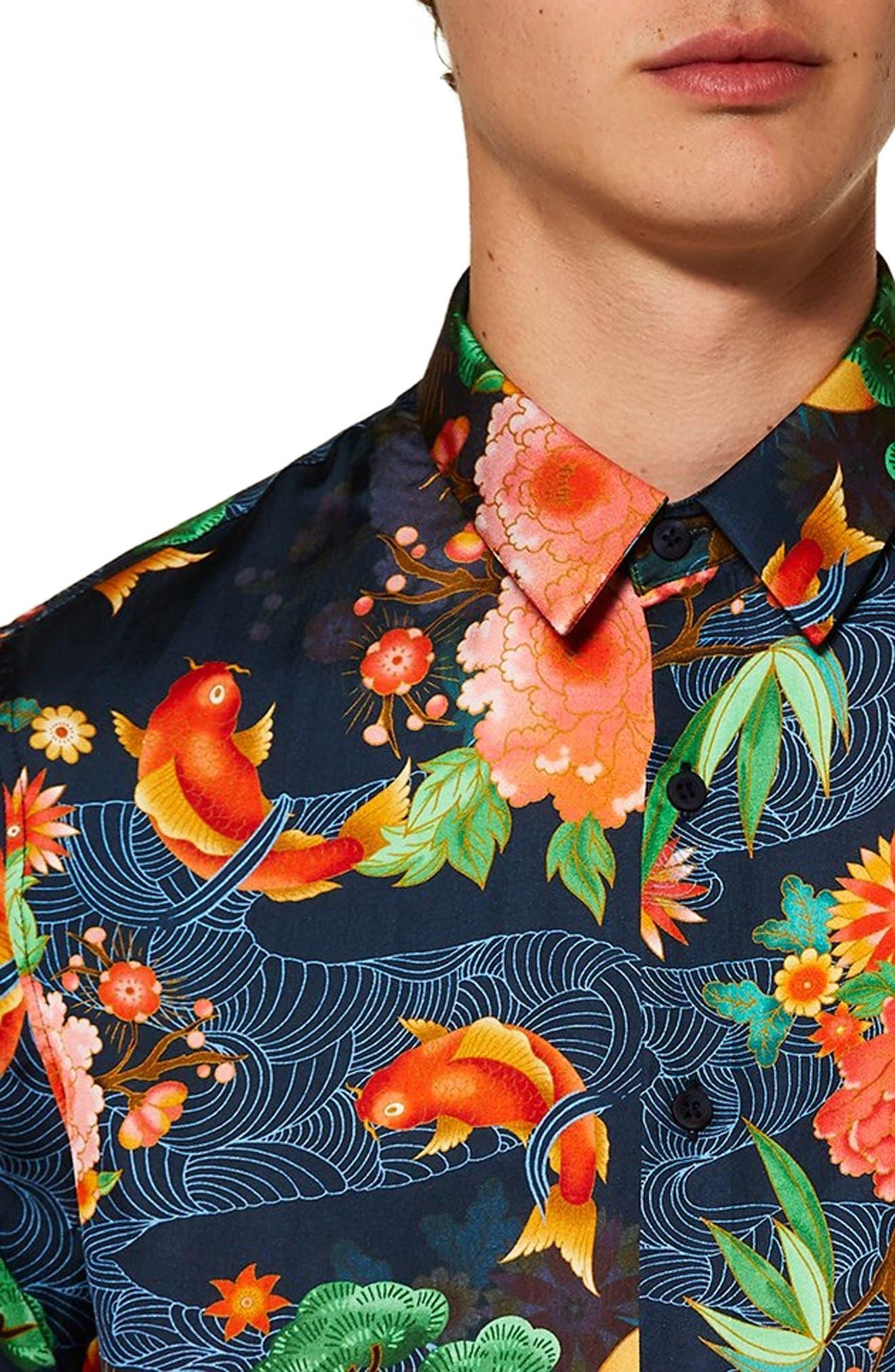 Classic Fit Floral Shirt,                             Alternate thumbnail 2, color,                             BLUE
