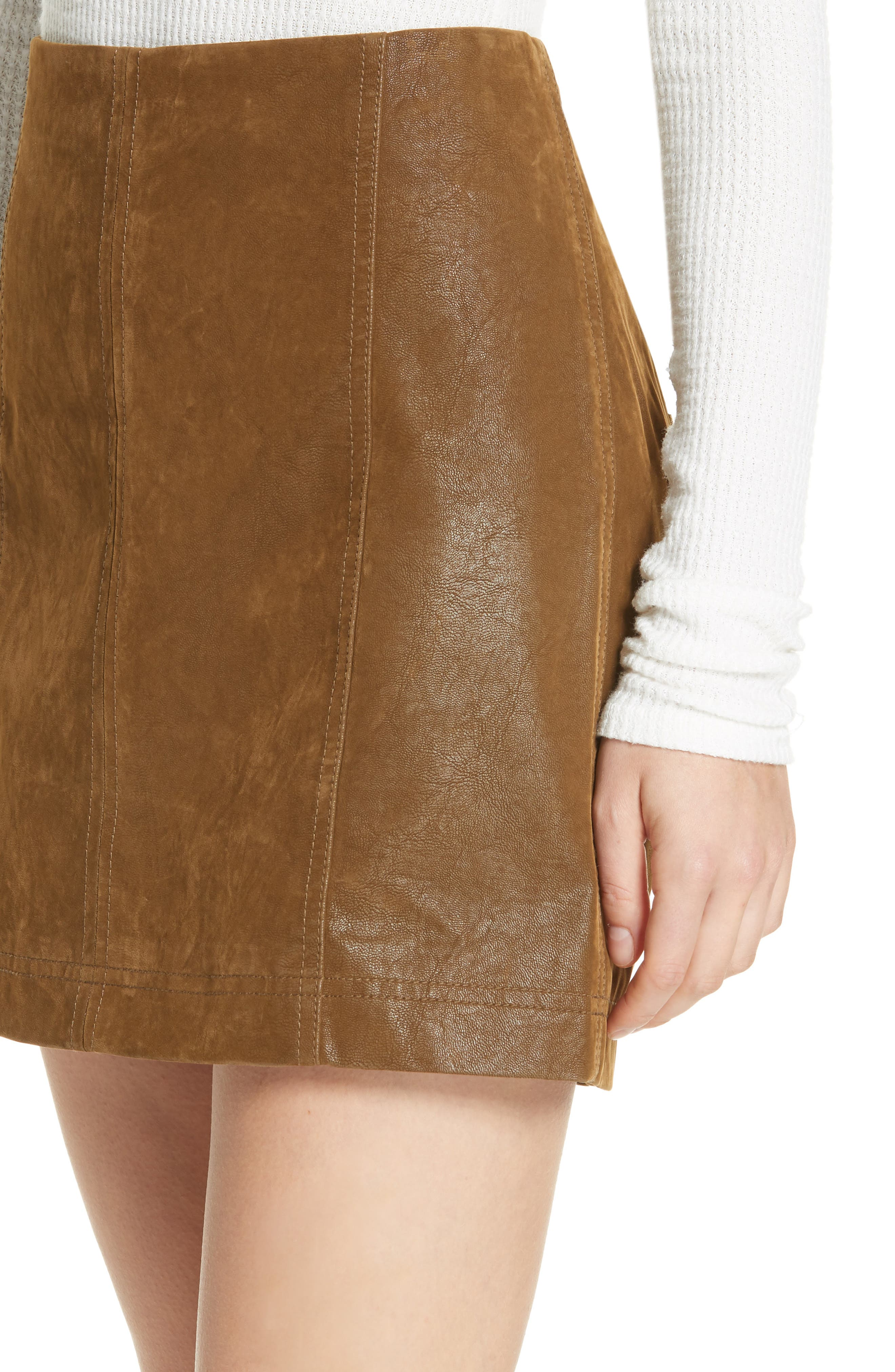 Faux Leather Miniskirt,                             Alternate thumbnail 4, color,                             394