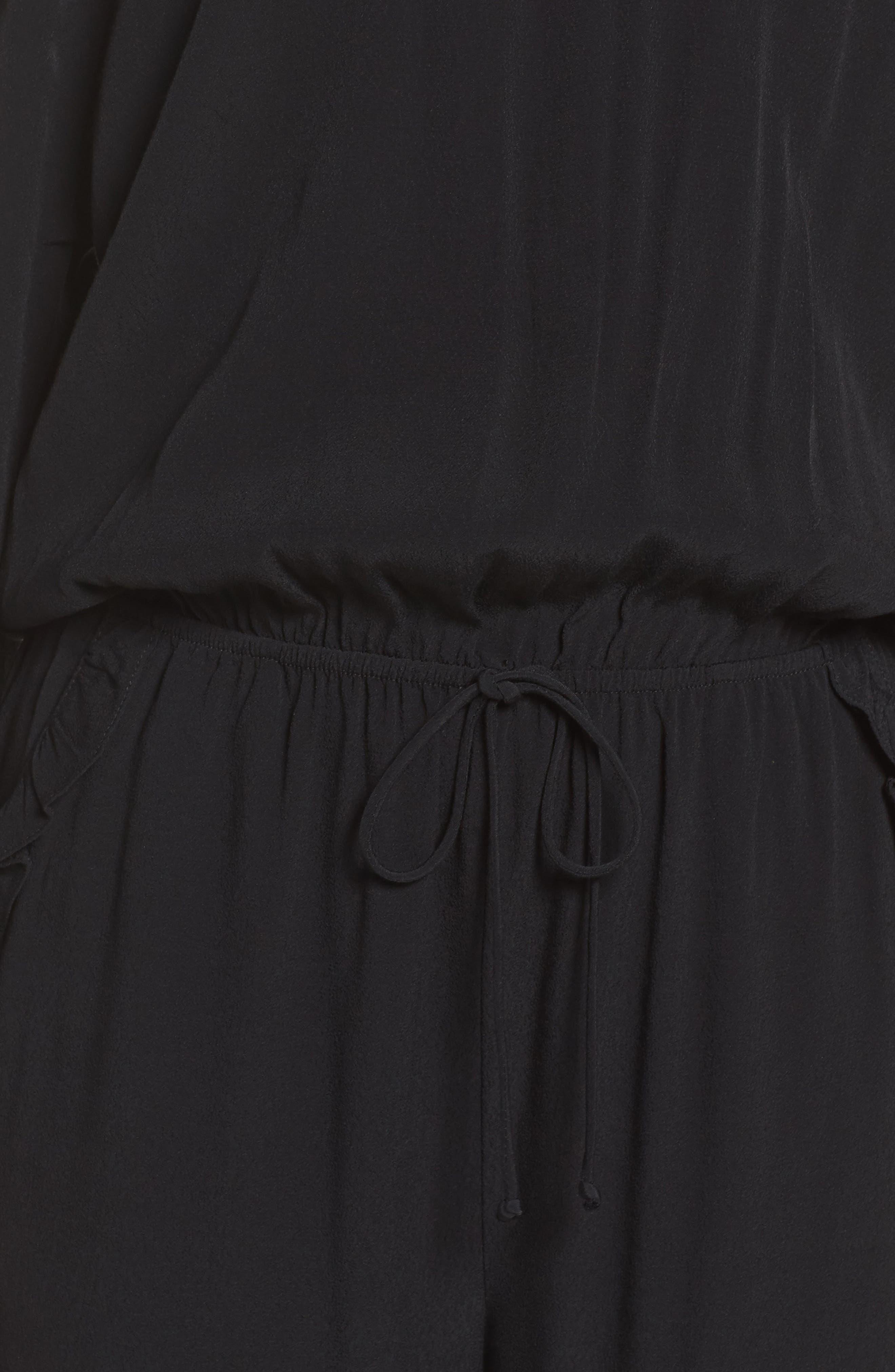 Off the Shoulder Jumpsuit,                             Alternate thumbnail 5, color,                             BLACK