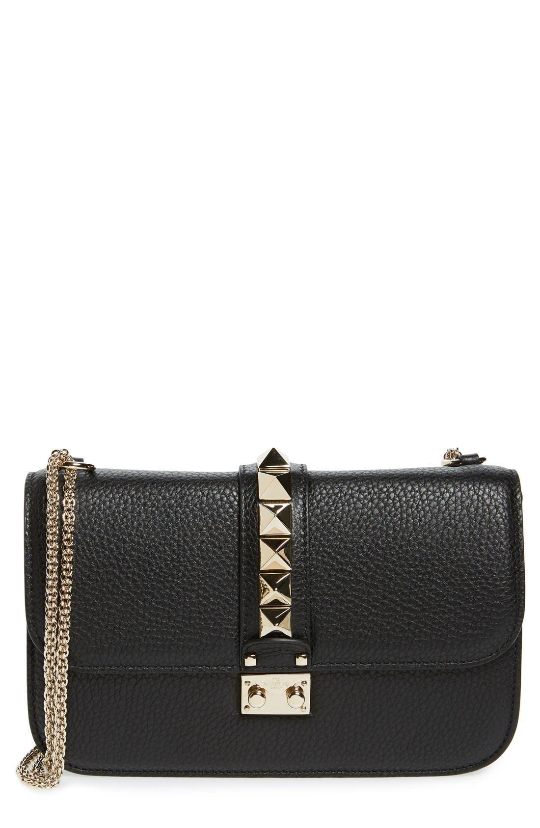 Medium Lock Studded Leather Shoulder Bag,                         Main,                         color, NERO