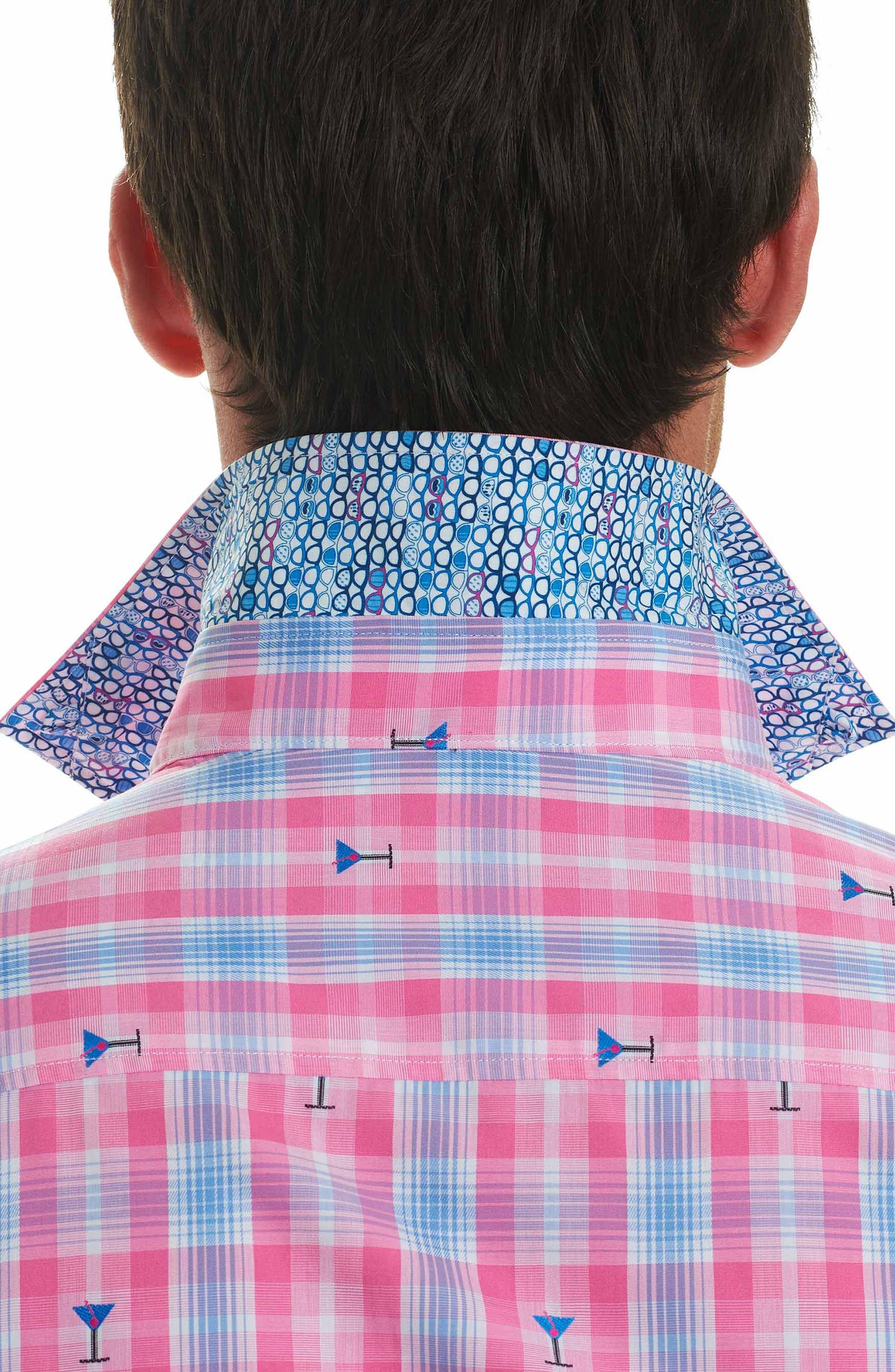 Chancellor Martini Plaid Sport Shirt,                             Alternate thumbnail 3, color,                             650