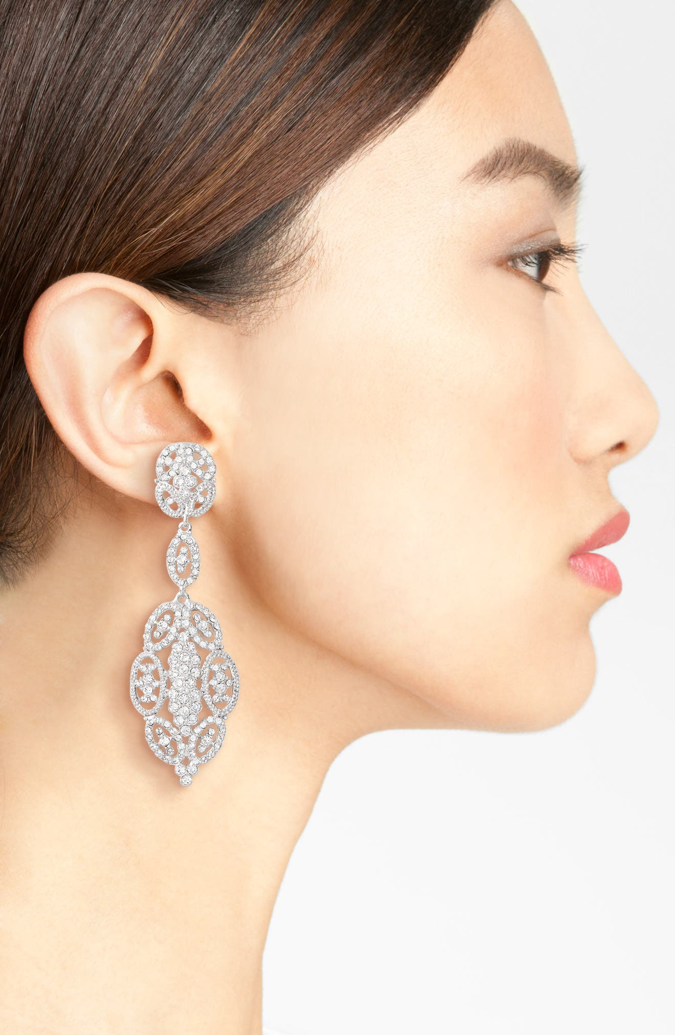 Glamorous Swarovski Crystal Drop Earrings,                             Alternate thumbnail 2, color,                             040