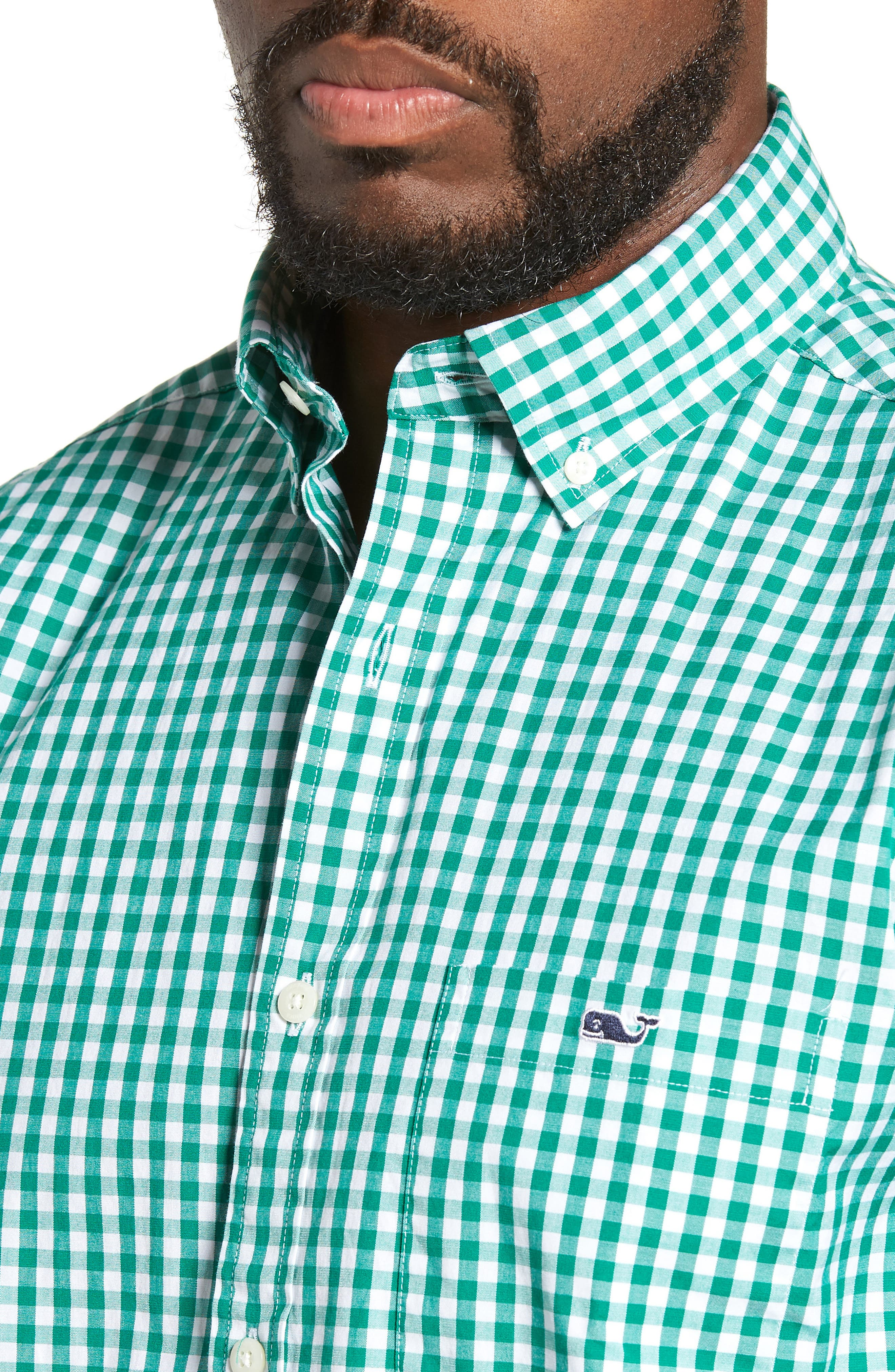 Carleton Classic Fit Gingham Sport Shirt,                             Alternate thumbnail 2, color,                             GREEN MEADOW