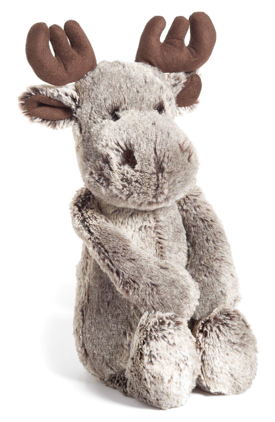 'Woodland Babe Moose' Stuffed Animal,                             Main thumbnail 1, color,                             BROWN