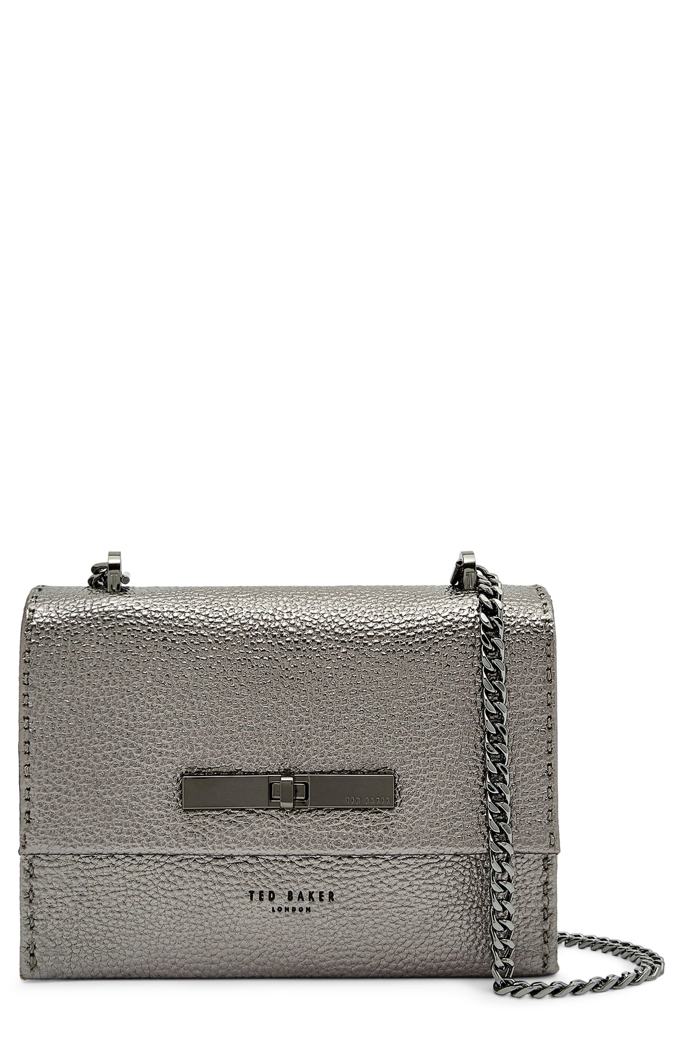 cfa2a12d5246 Ted Baker Mini Juliah Concertina Leather Crossbody Bag - Grey In Gunmetal