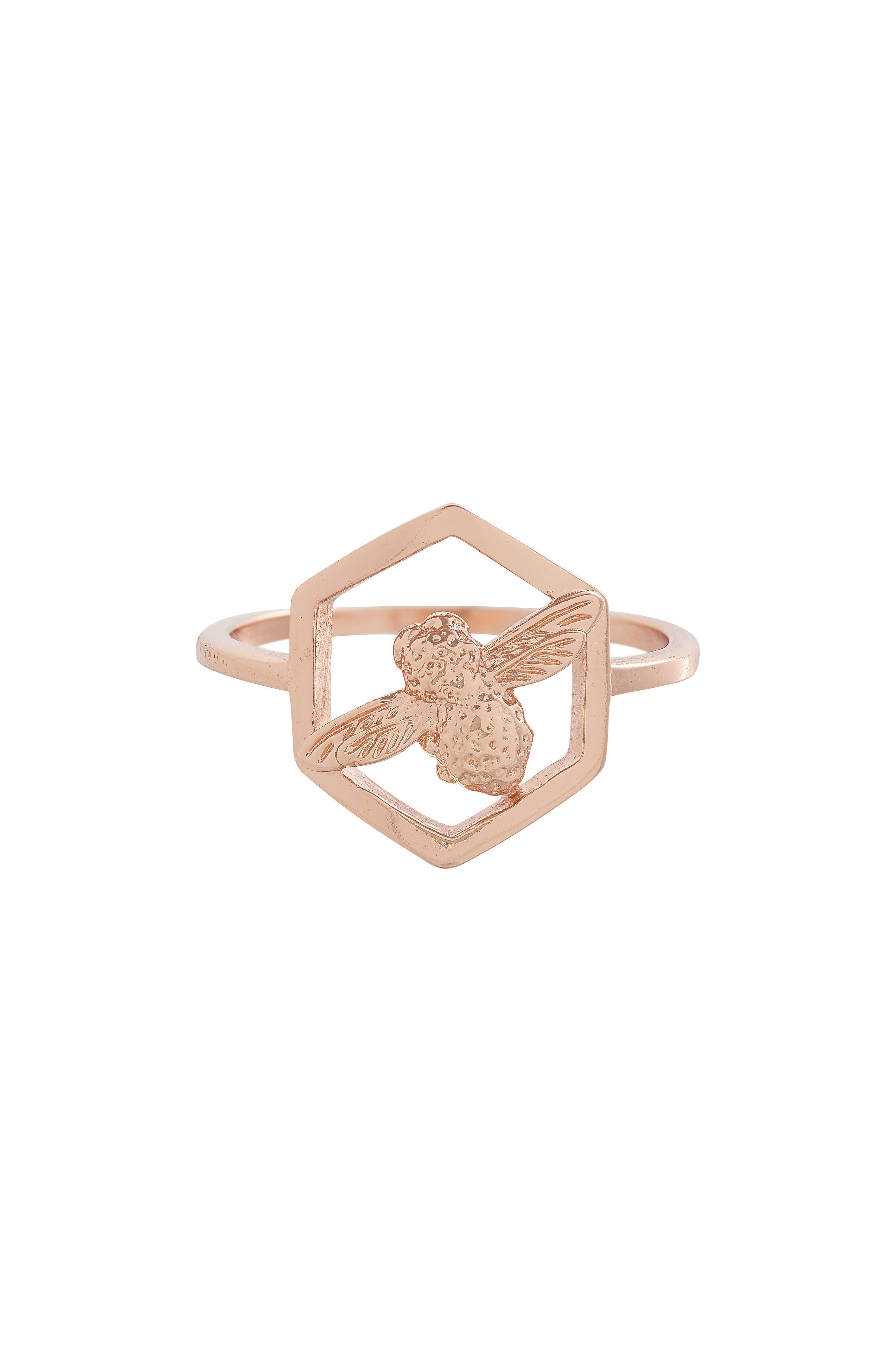 Honeycomb Bee Ring,                         Main,                         color, ROSE GOLD