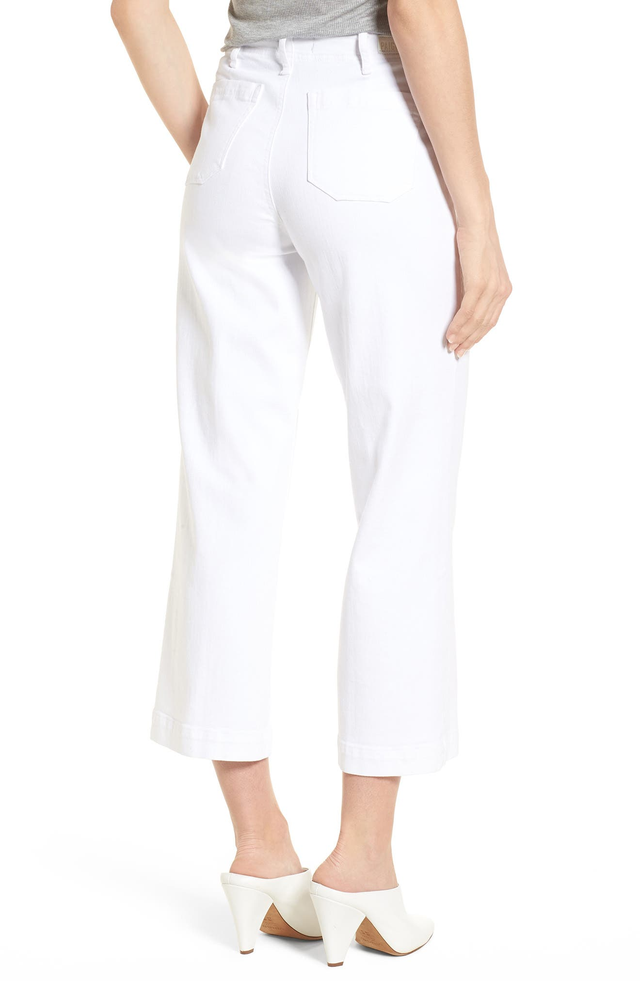 Nellie Clean Front Culotte Jeans,                             Alternate thumbnail 2, color,                             CRISP WHITE