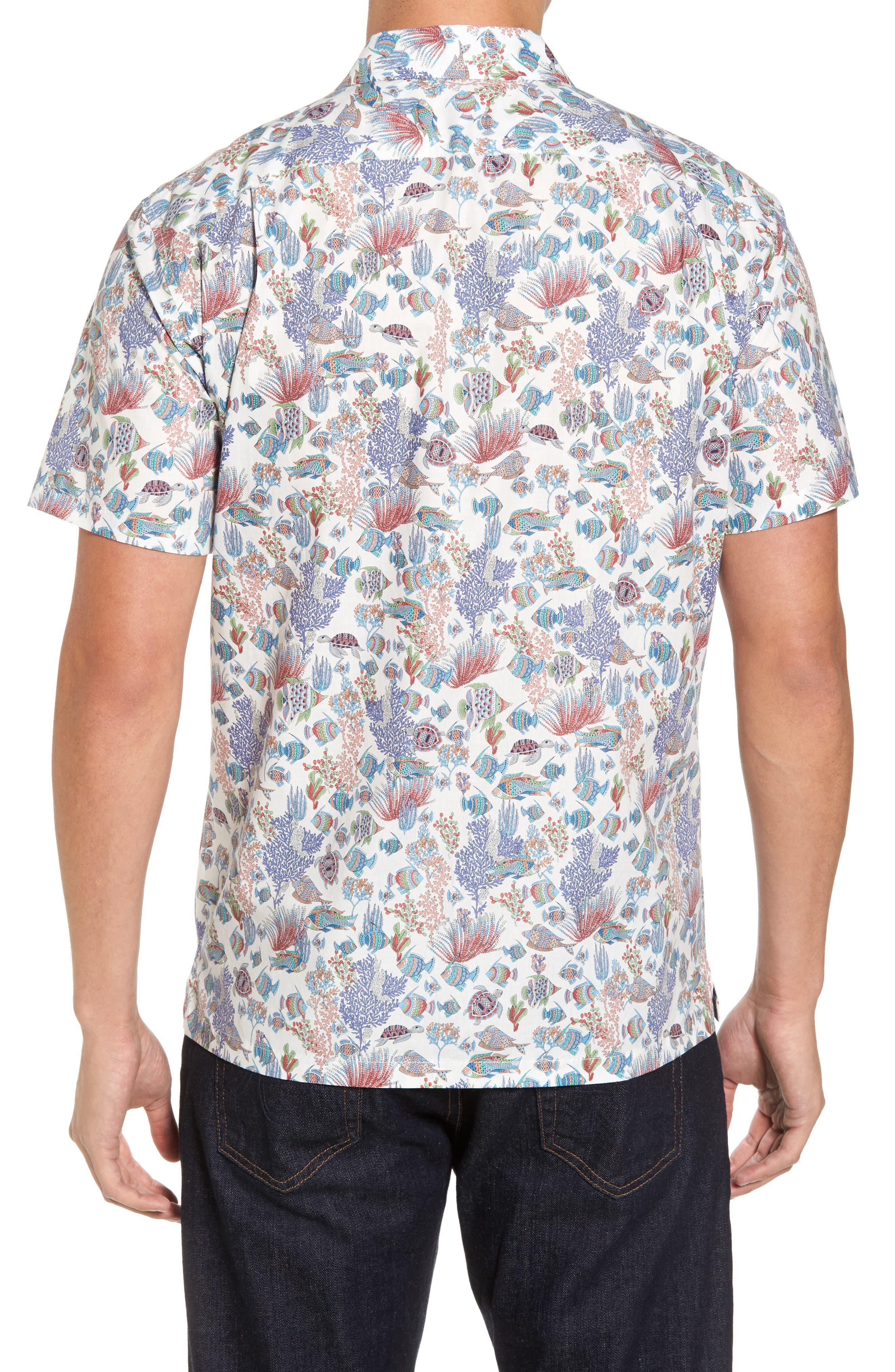 Aquaculture Slim Fit Camp Shirt,                             Alternate thumbnail 2, color,                             100