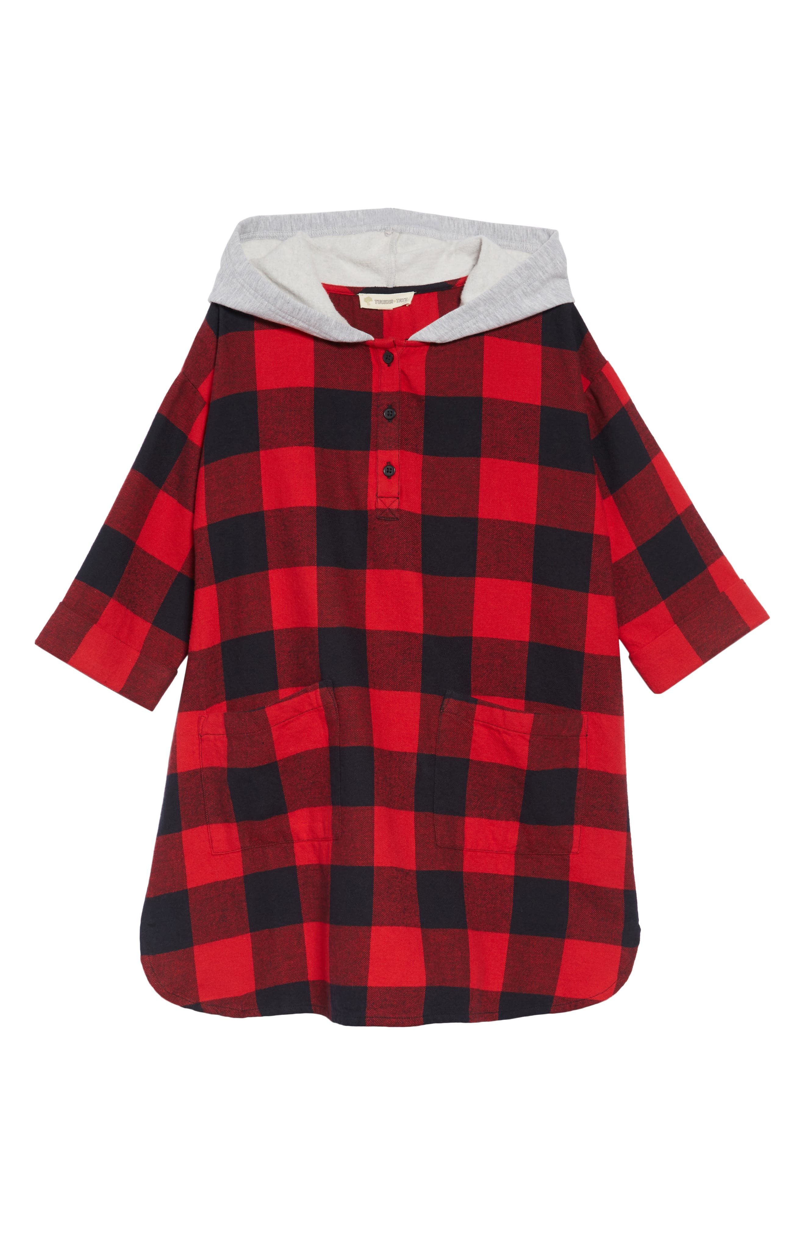 Hooded Flannel Dress,                             Main thumbnail 1, color,                             RED PEPPER BUFFALO CHECK