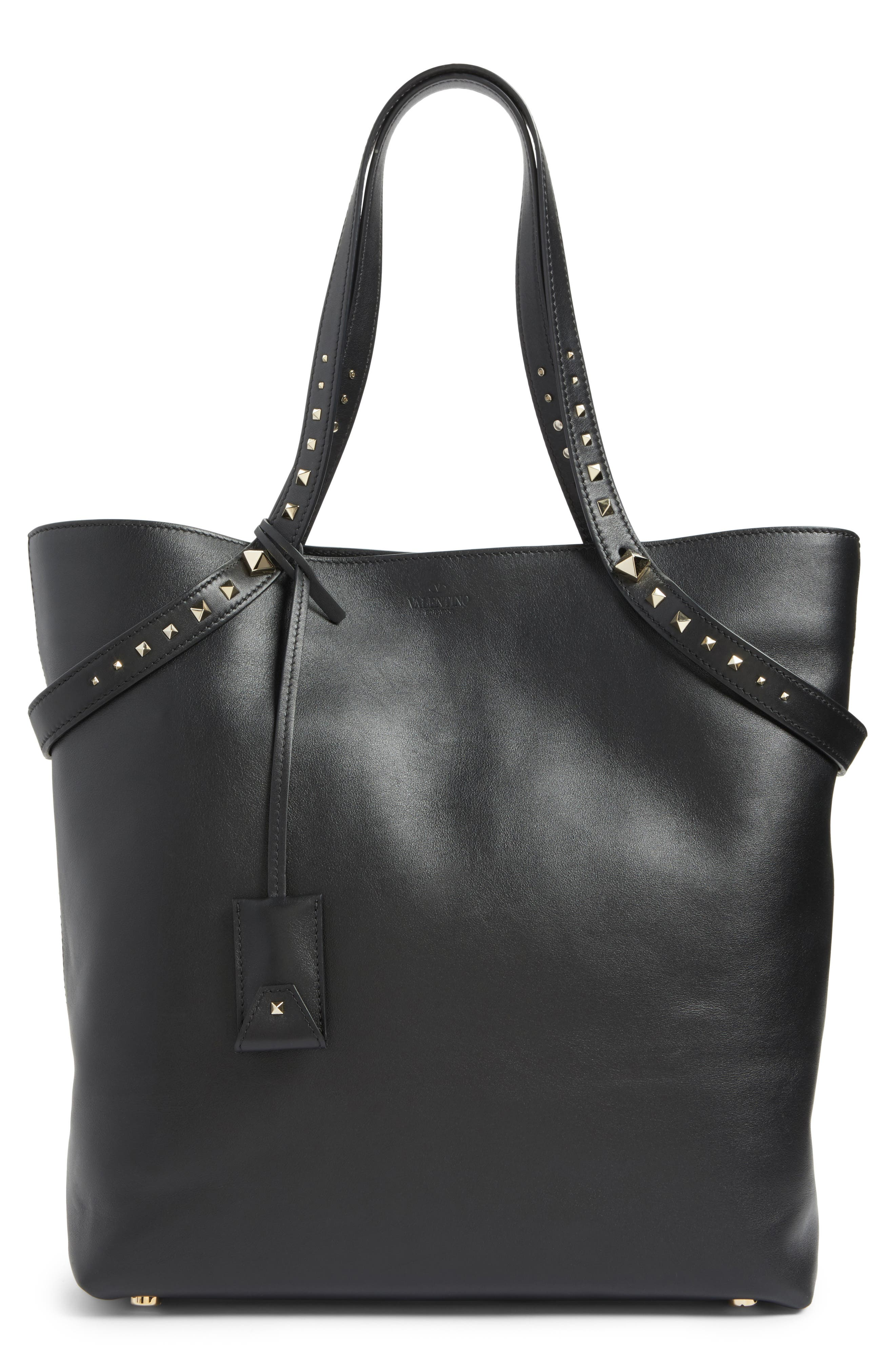 Lovestud Leather Tote,                         Main,                         color,